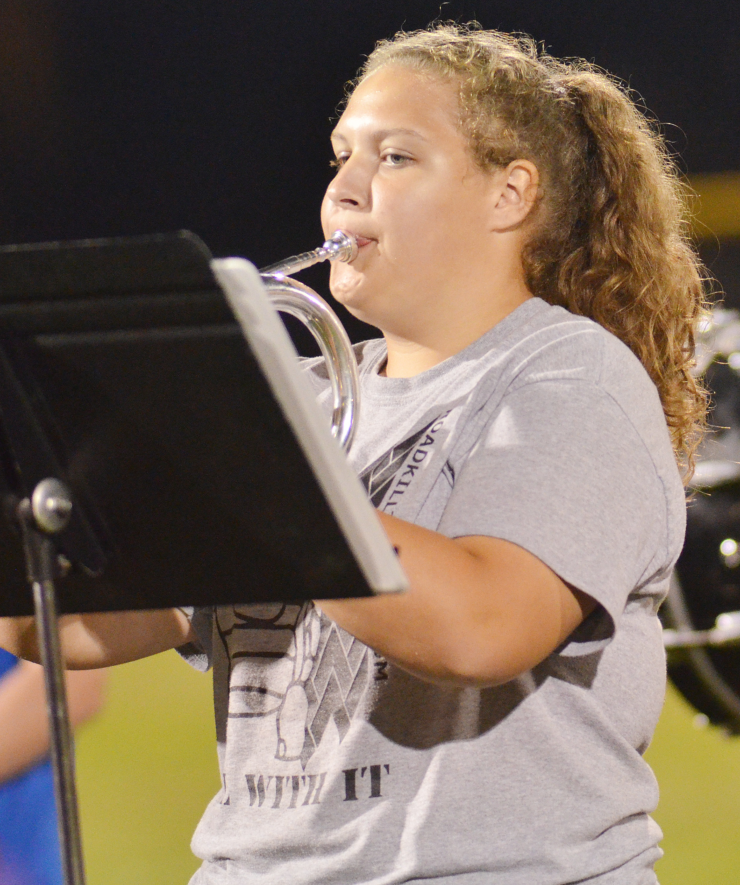 CHS sophomore Abie Angel plays with the CHS pep band.