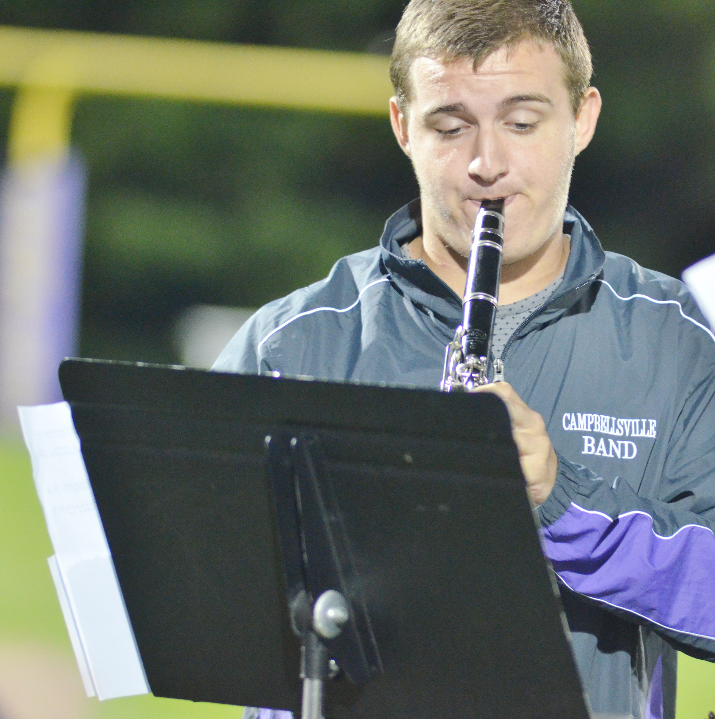 CHS senior Austin Fitzgerald plays with the CHS pep band.