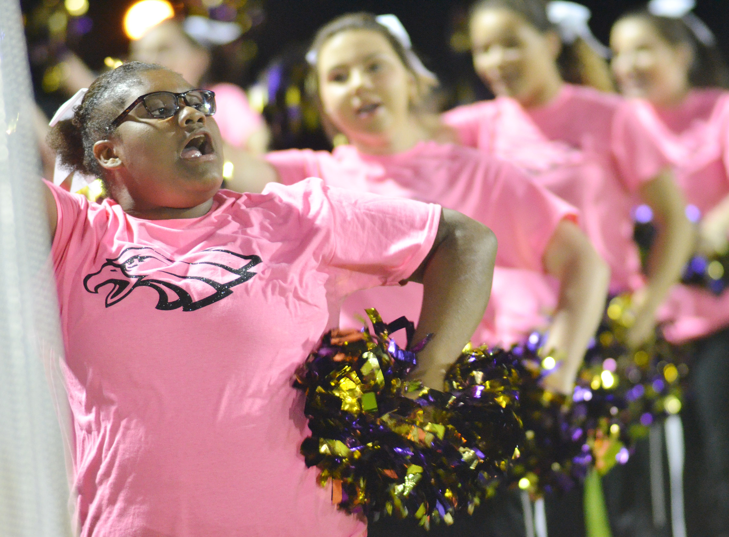 CHS sophomore Jakyia Mitchell cheers for the Eagles.