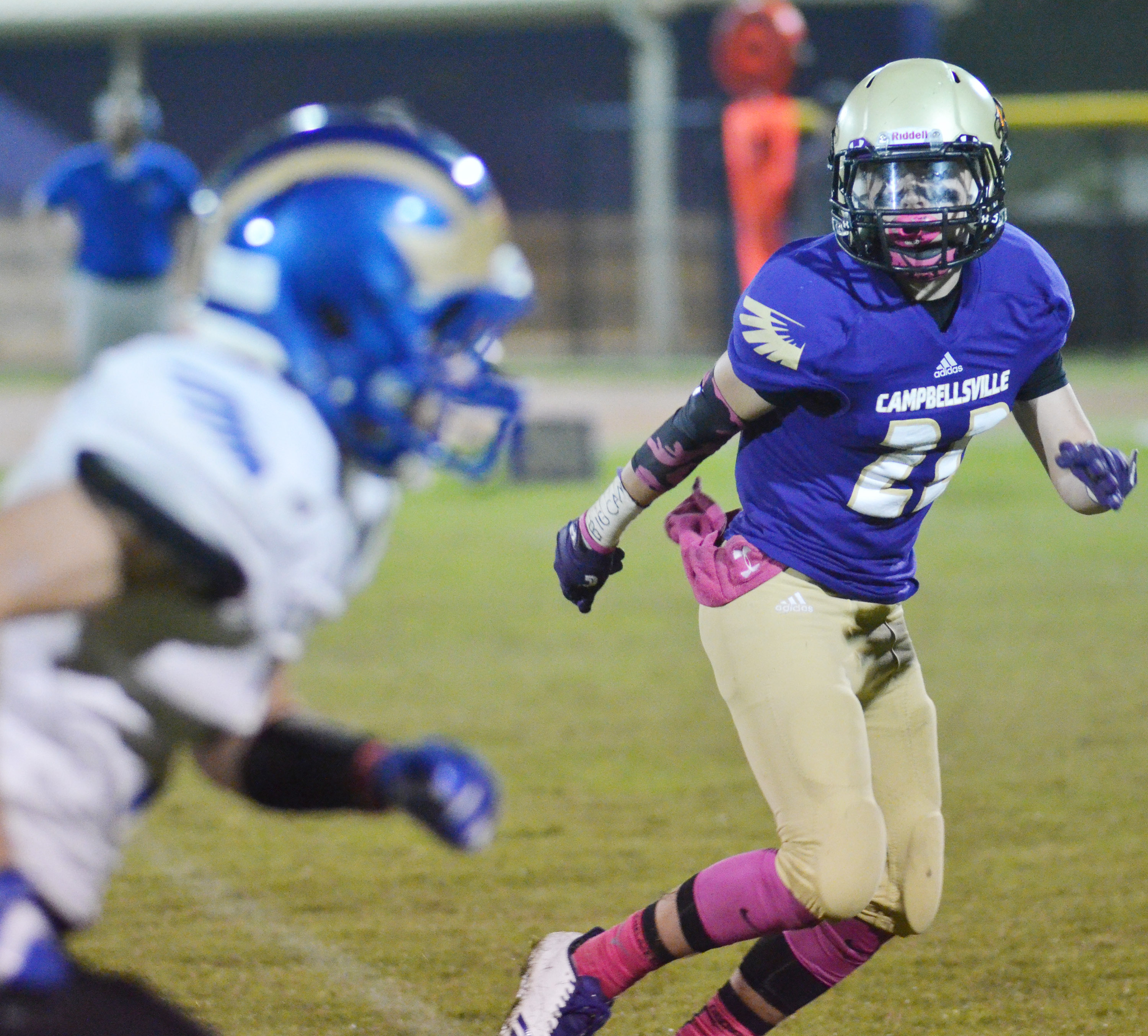 CHS sophomore Tyler Gribbins runs to tackle.