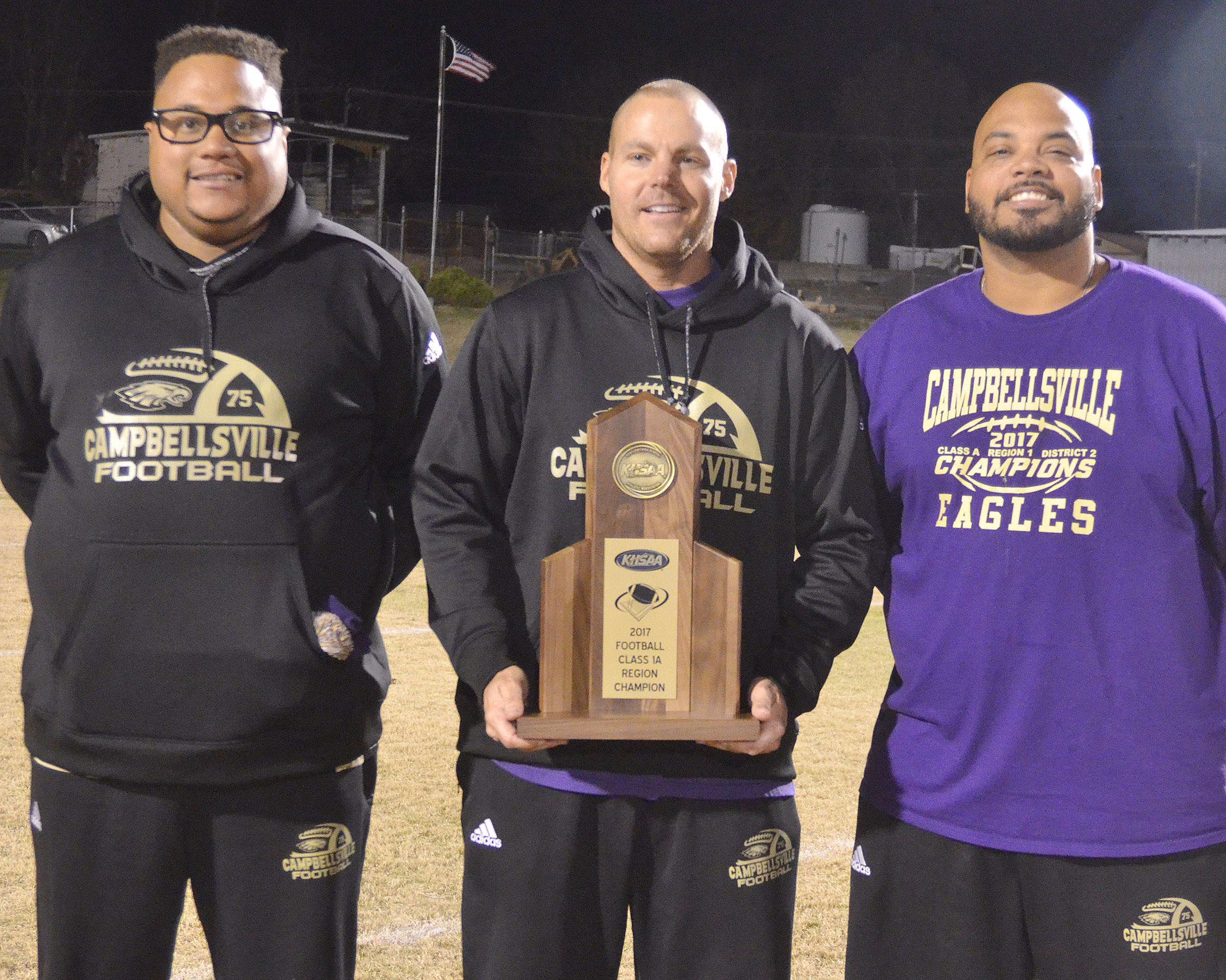 CHS assistant football coaches, from left, Bronson Gowdy, Robbie Gribbins and Aaron Webb have now won a region championship as players and coaches.