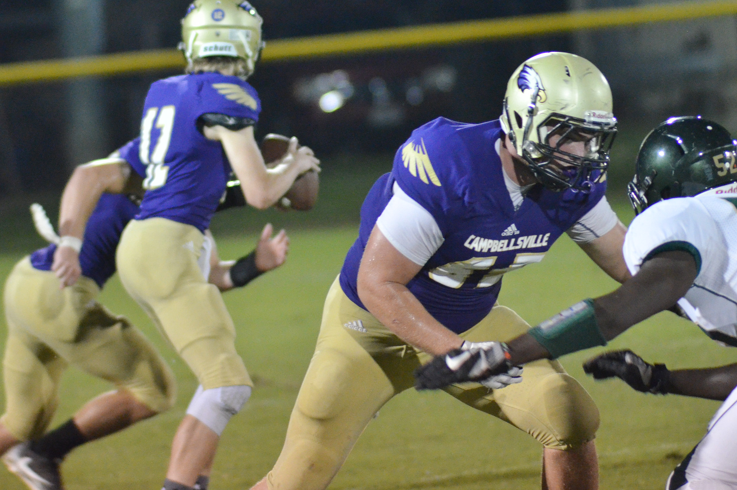 CHS junior Lane Bottoms tackles.
