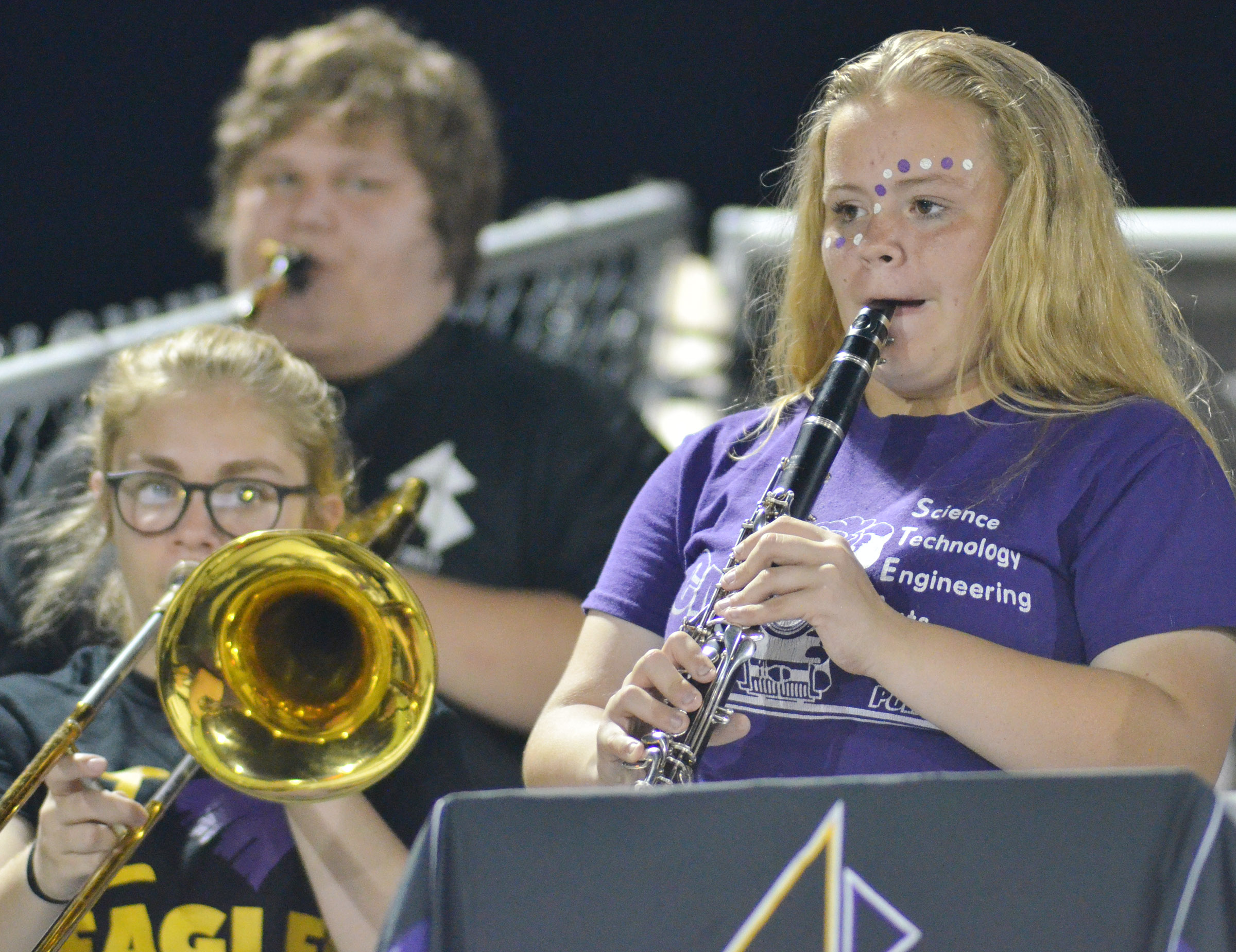 CHS freshman Riley Rainwater plays clarinet with the pep band.