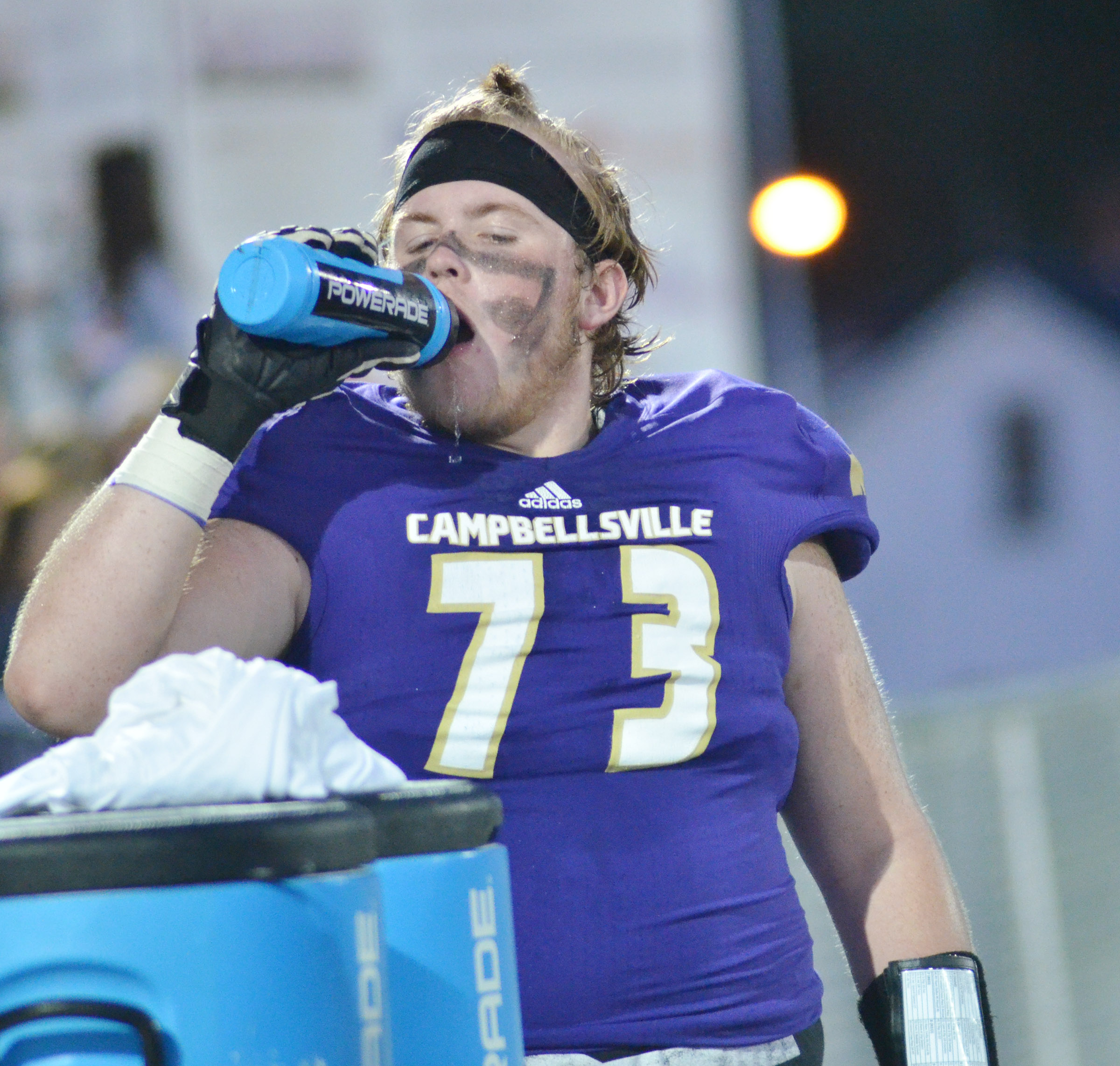 CHS senor Ryan Jeffries gets a drink of water.