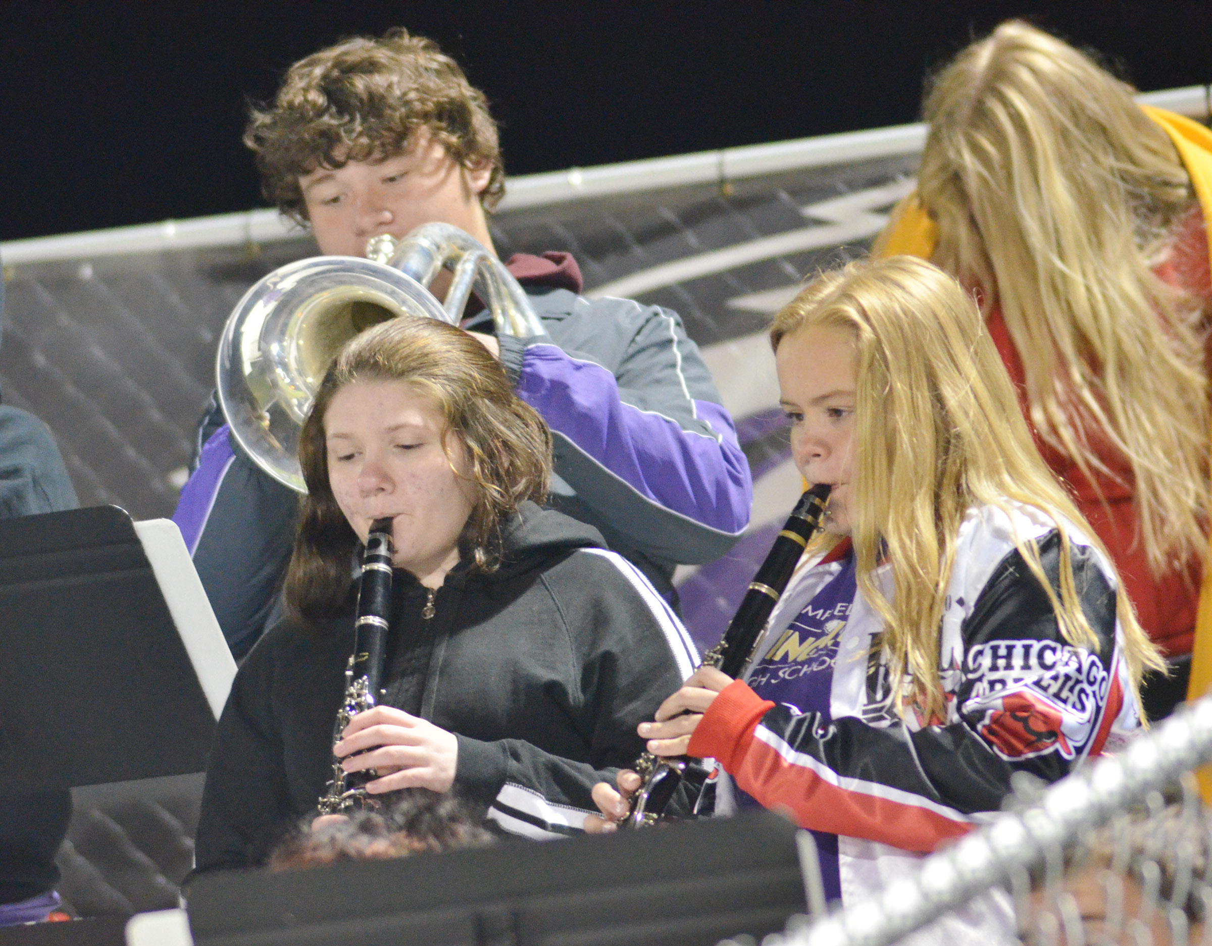 CHS Pep Band members perform the National Anthem.