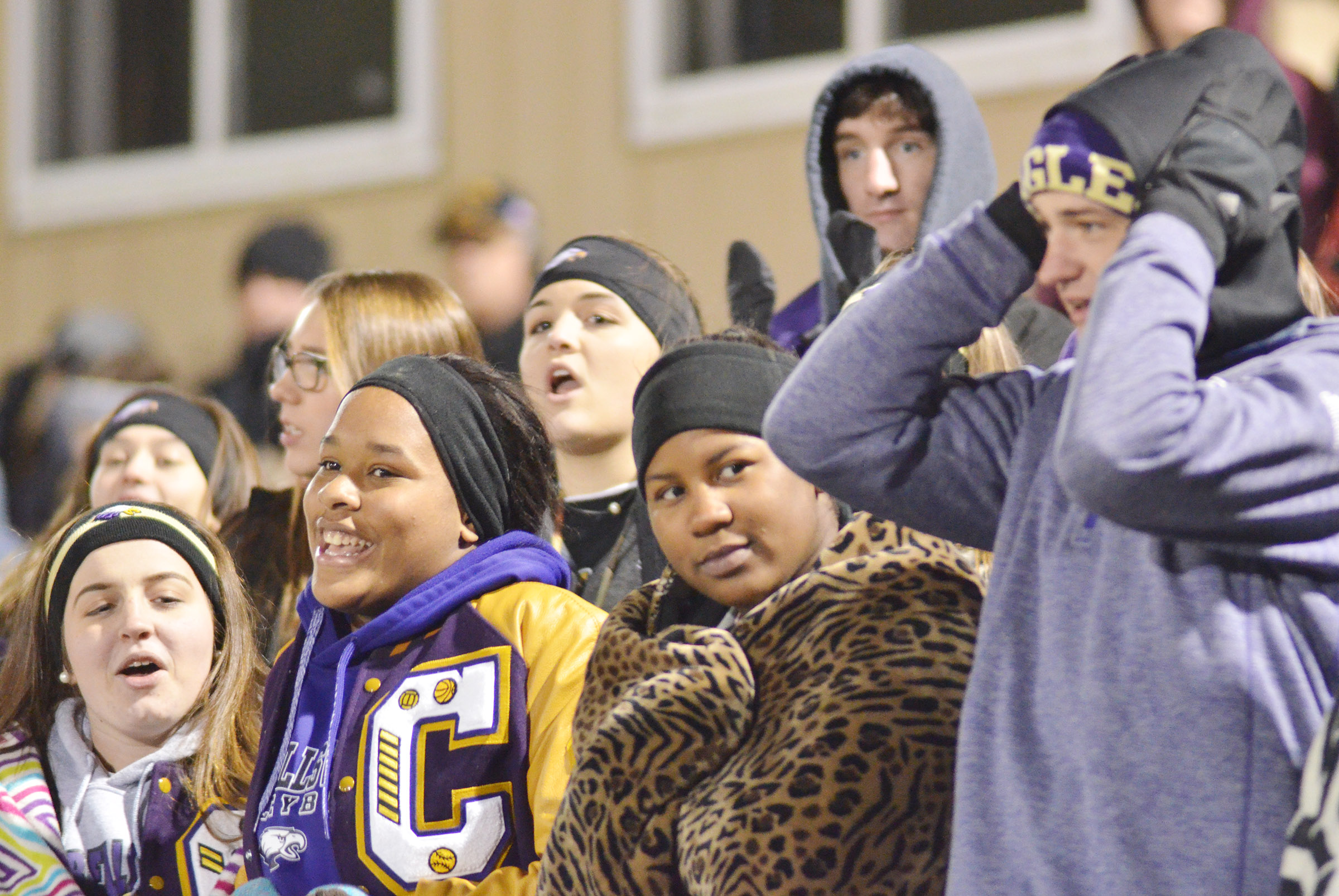 CHS students cheer for the Eagles, despite the cold weather.