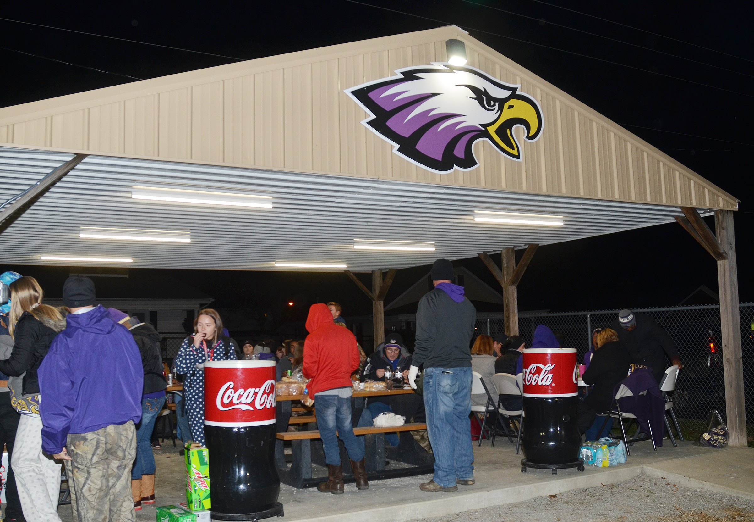 CIS students and staff members gather for a tailgate before the Eagles take on Russellville.