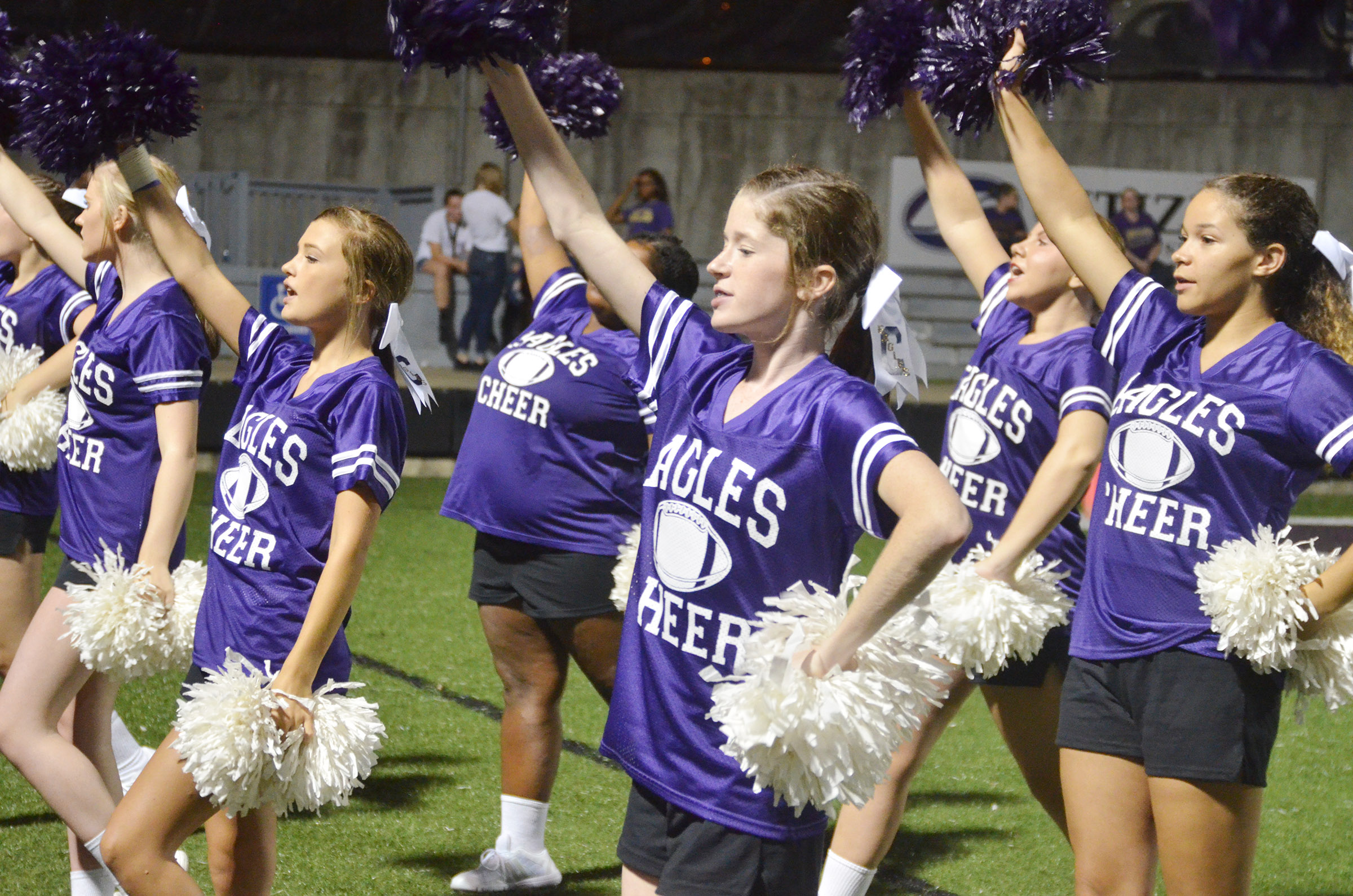 CHS cheerleaders cheer for the Eagles.