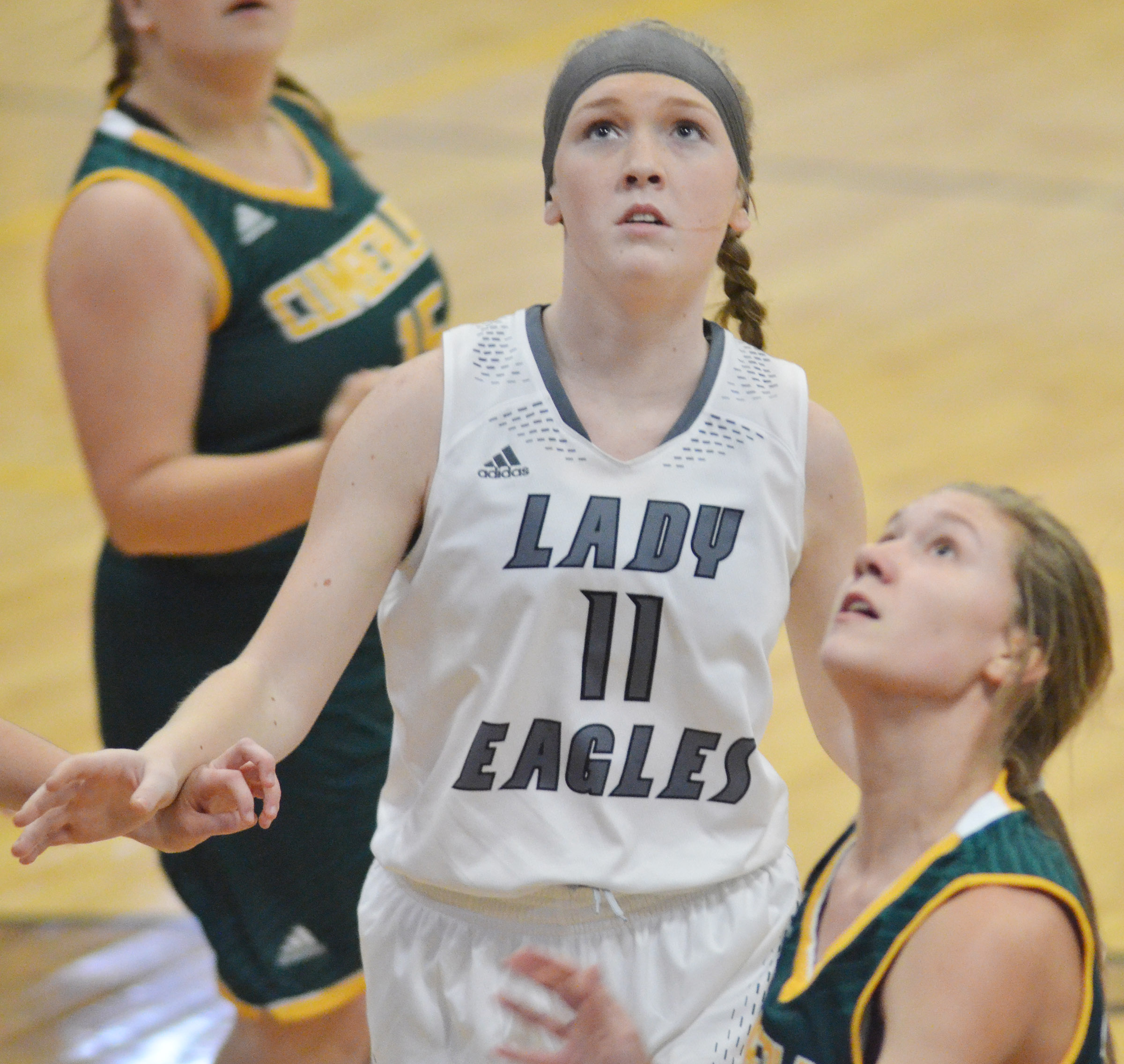 CHS freshman Catlyn Clausen looks for a rebound.