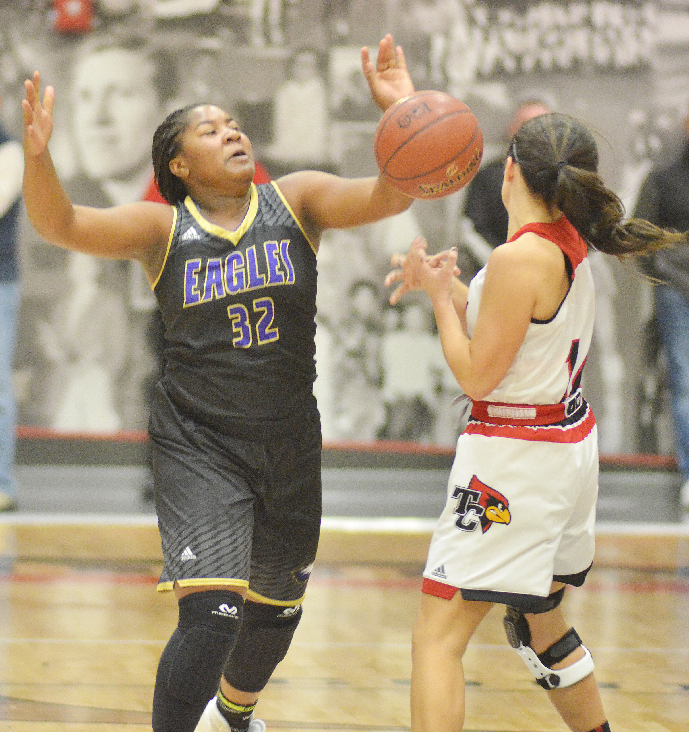 CHS senior Kiyah Barnett fights for the ball.