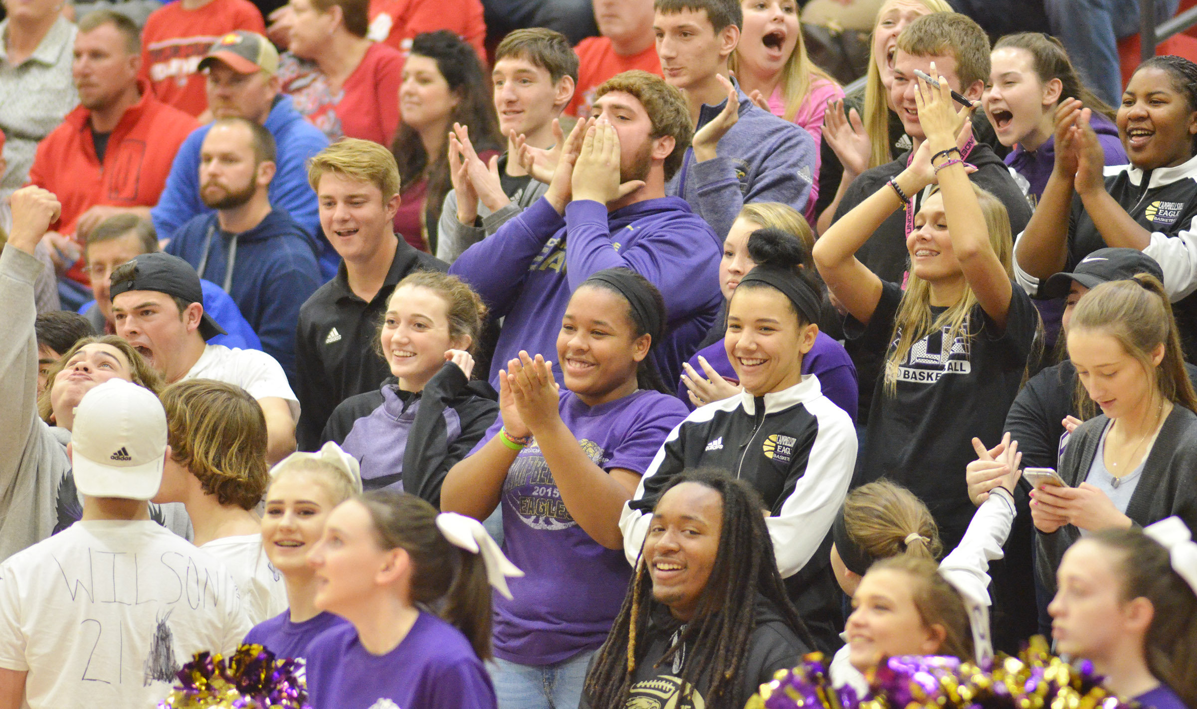 CHS students cheer for the Eagles.