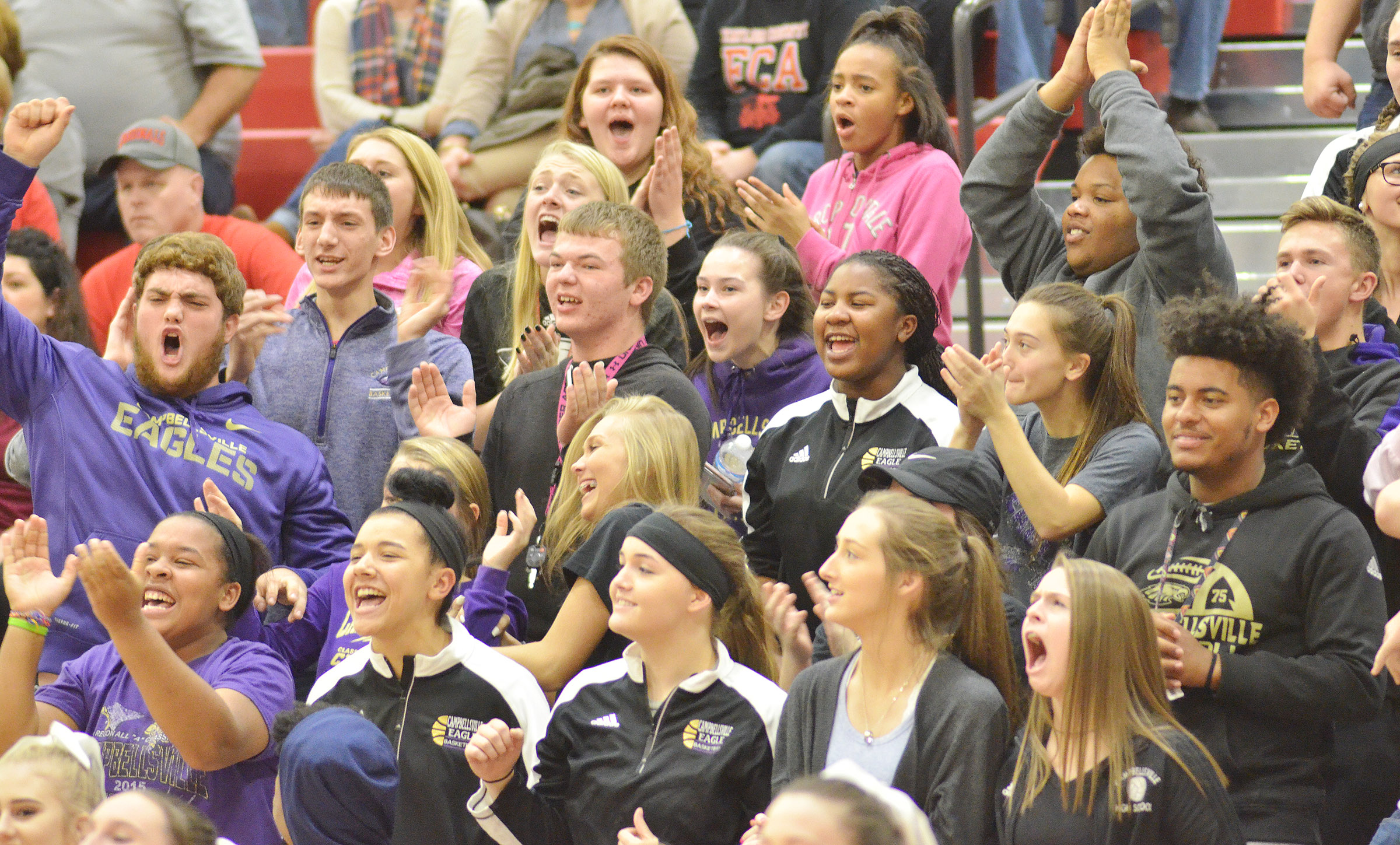 CHS students cheer as their team defeats Taylor County.