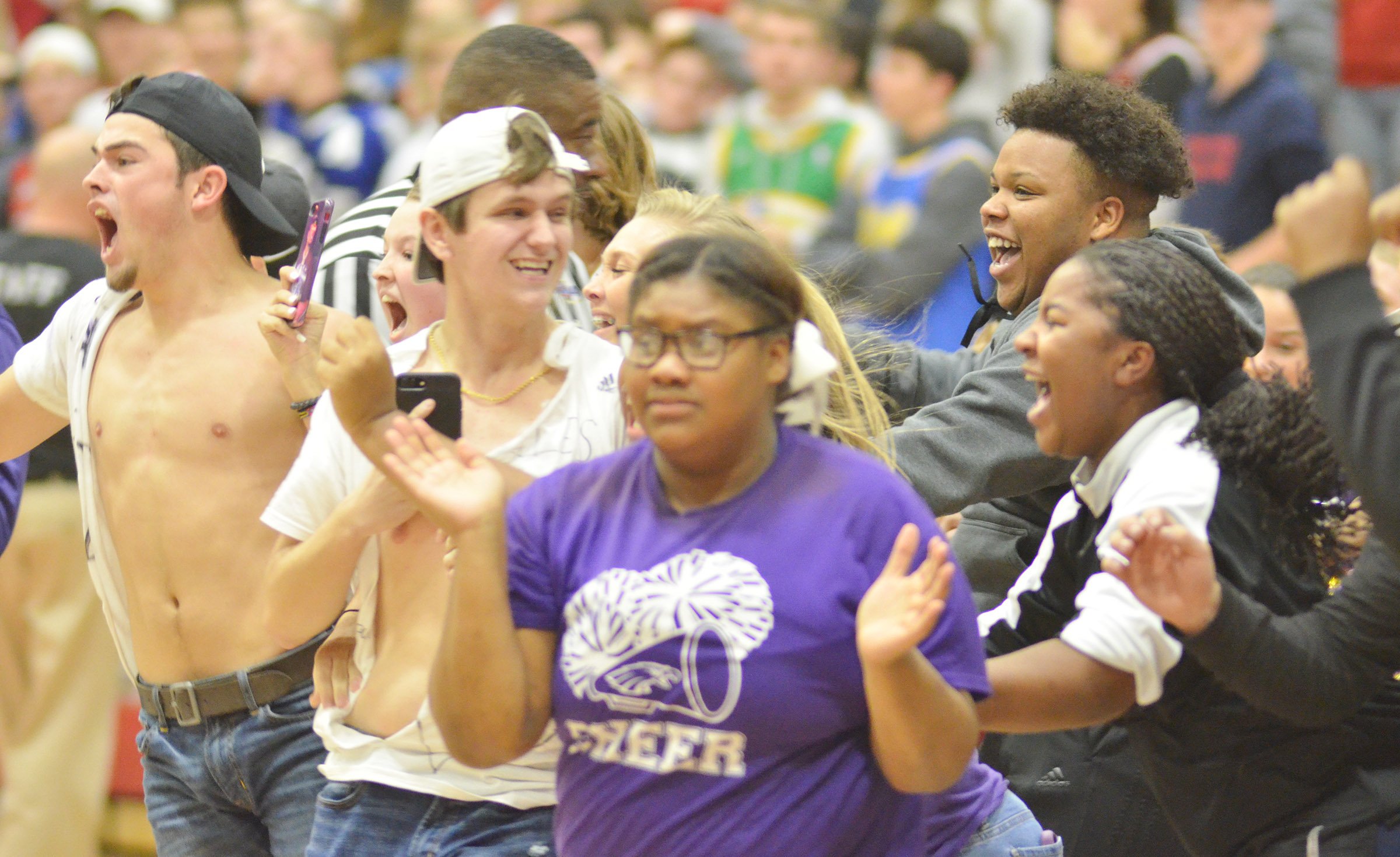 CHS students cheer after their team defeats Taylor County.