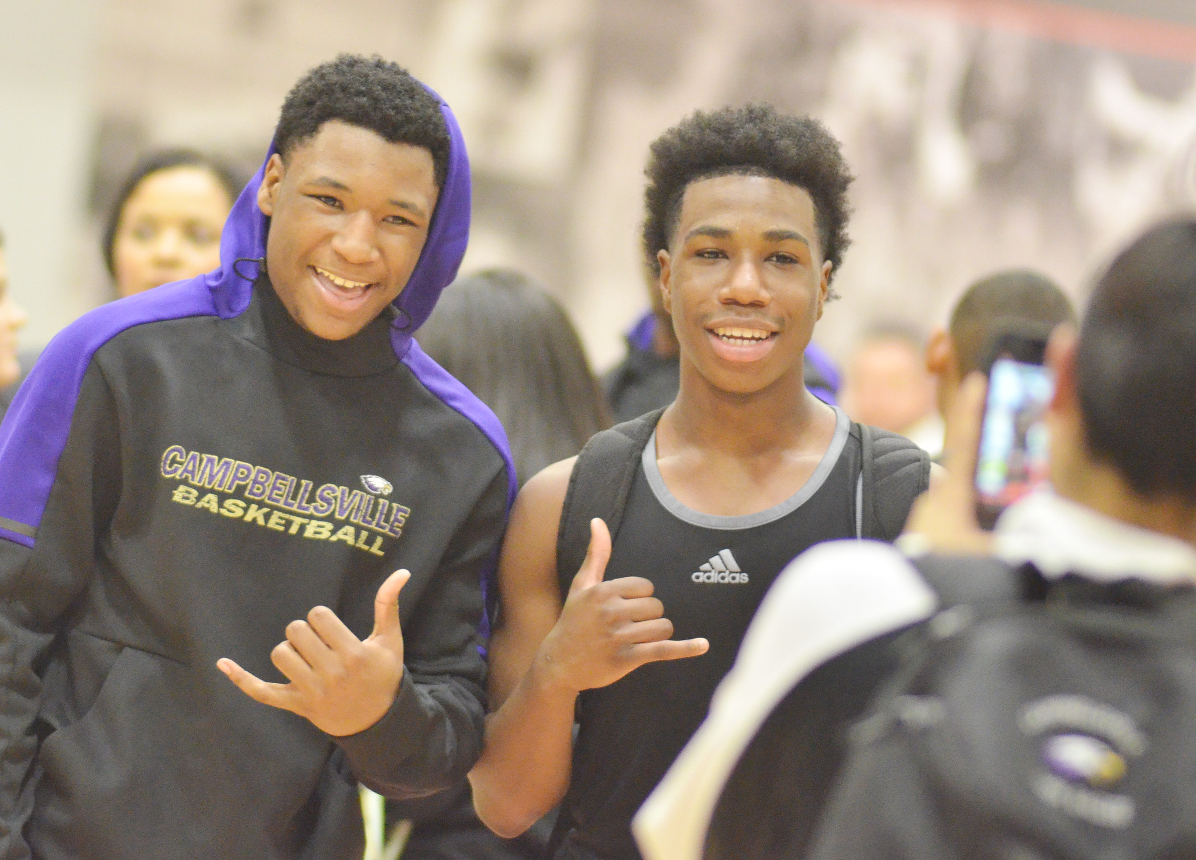 CHS junior Taj Sanders, at left, and sophomore Malachi Corley smile for the camera.