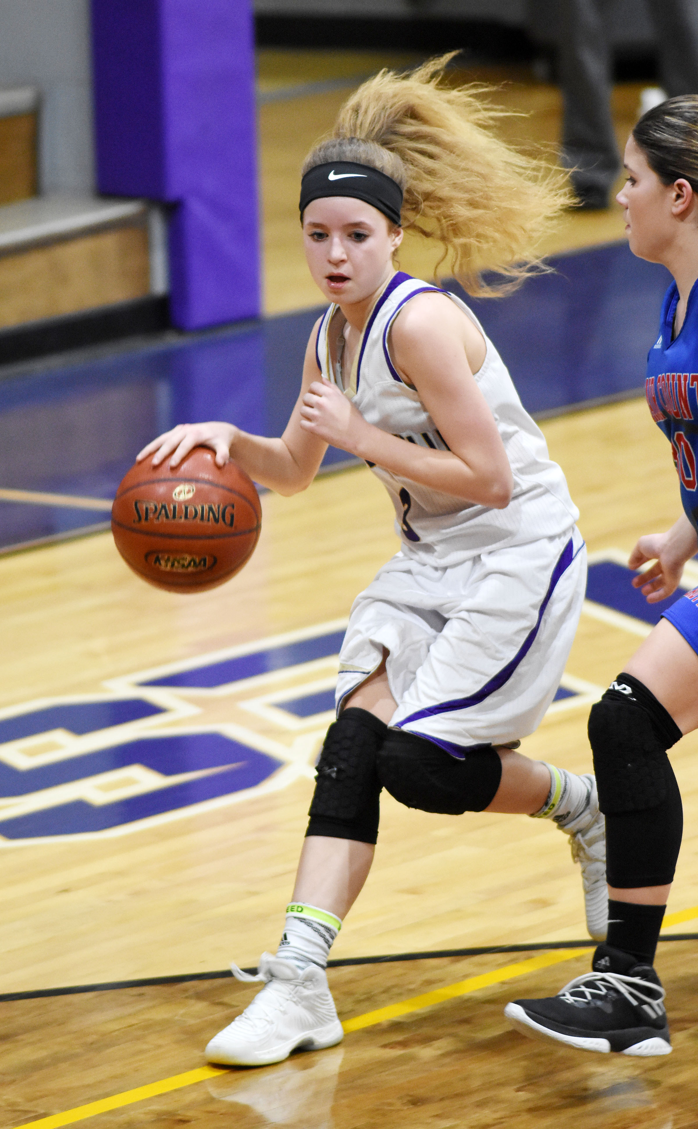 Campbellsville Middle School eighth-grader Rylee Petett dribbles.
