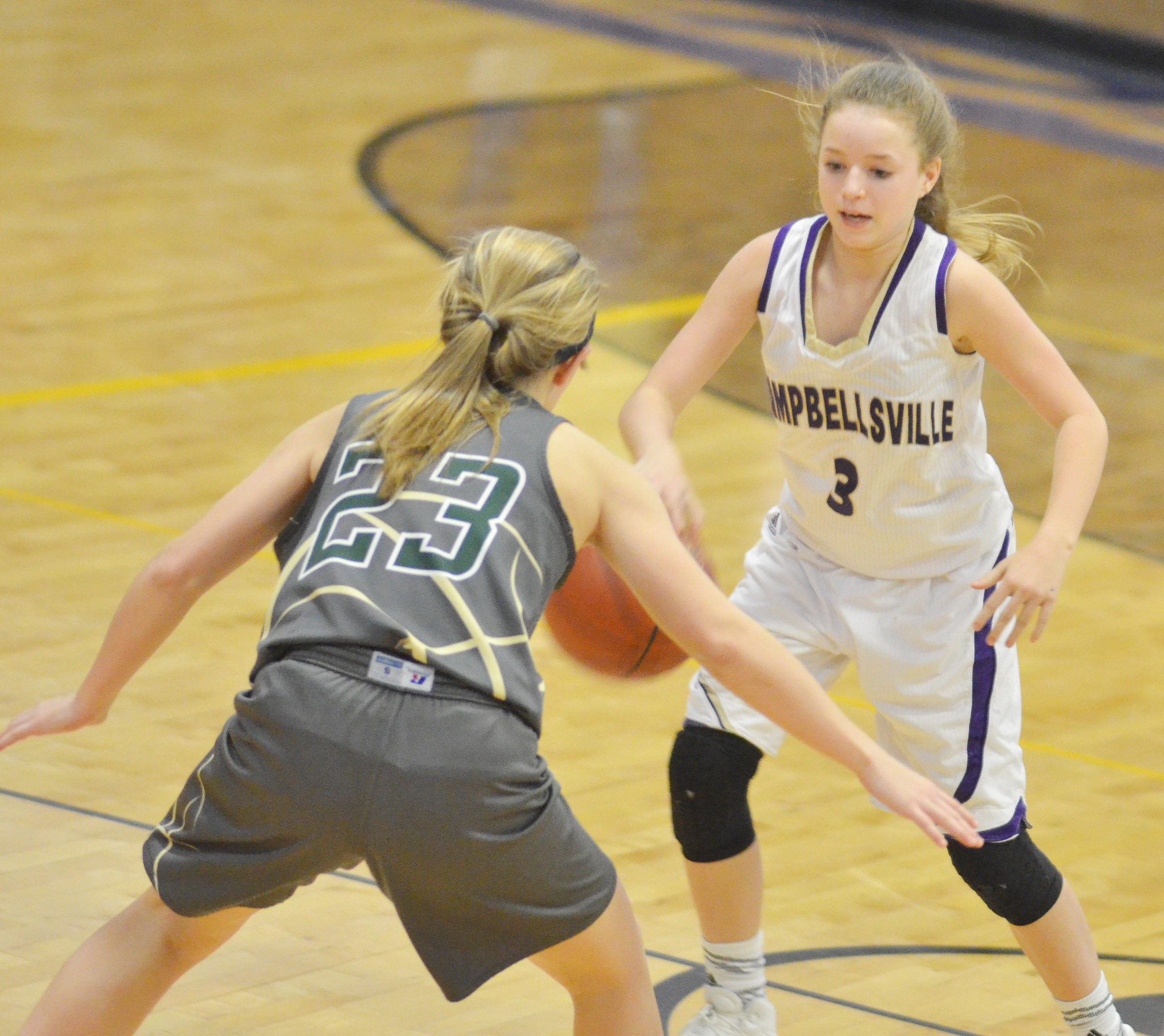 Campbellsville Middle School eighth-grader Rylee Petett protects the ball.