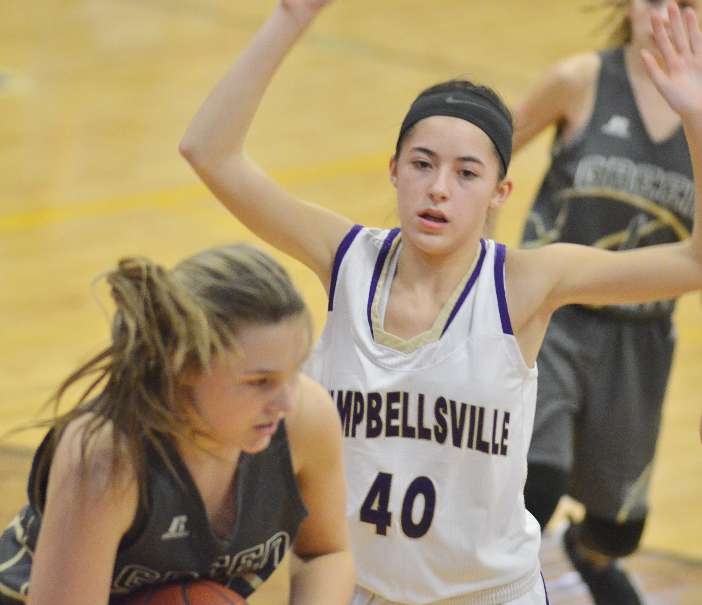 Campbellsville Middle School eighth-grader Kaylyn Smith plays defense.