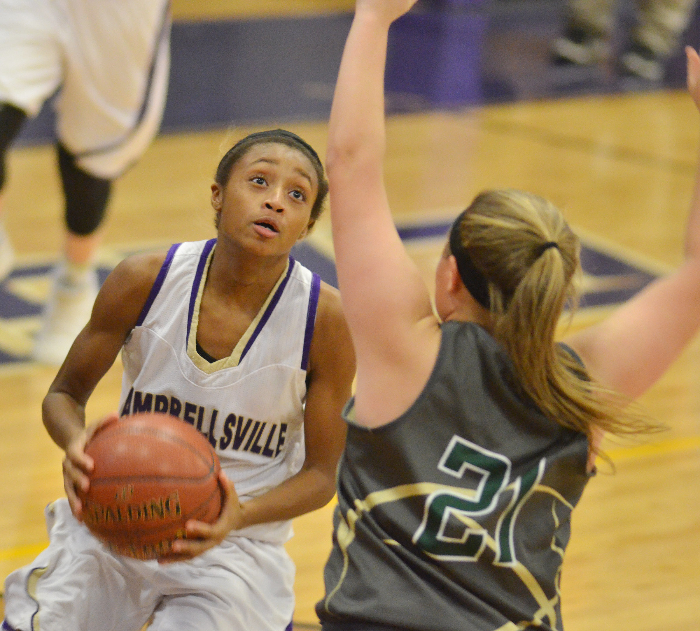 Campbellsville Middle School eighth-grader Bri Gowdy drives the ball.
