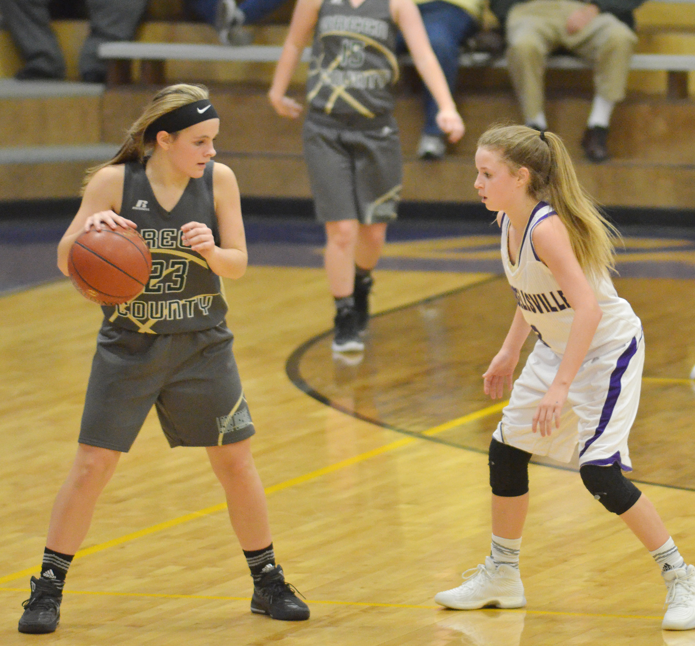Campbellsville Middle School eighth-grader Rylee Petett plays defense.