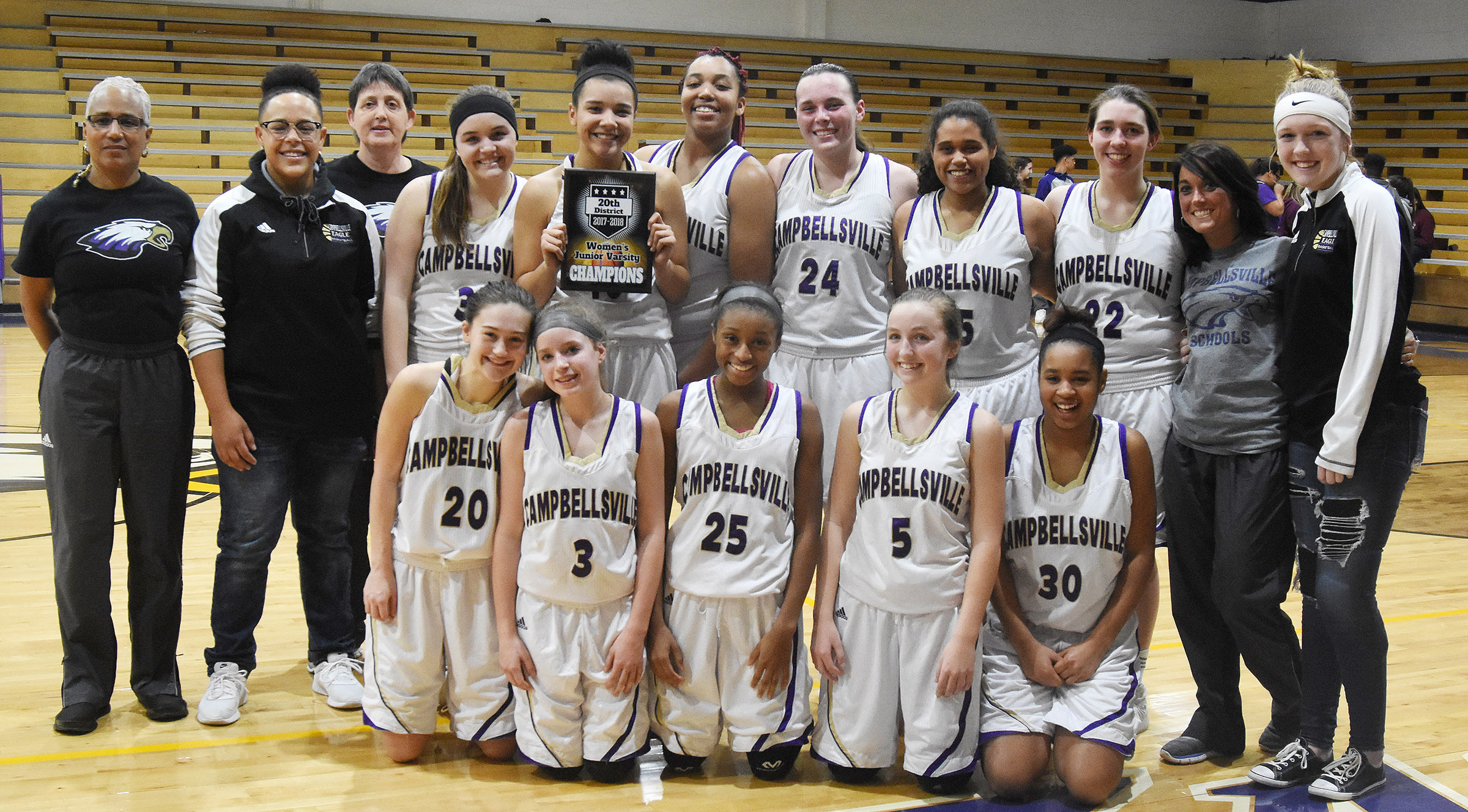 Campbellsville High School girls' junior varsity basketball team is this year's 20th District tournament champions. From left, front, are sophomore Bailey Thompson, Campbellsville Middle School eighth-graders Rylee Petett, Bri Gowdy and Lainey Watson and sophomore Isis Coleman. Back, coach Debbie Gowdy-Smith, junior Dee Simpson, coach Katie Wilkerson, freshman Kenzi Forbis, sophomore Kalisha Murphy, junior Malaya Hoskins, sophomores Katelyn Miller and Siera Owens, freshman Abi Weidewitsch, coach Natalia Warren and freshman Catlyn Clausen.