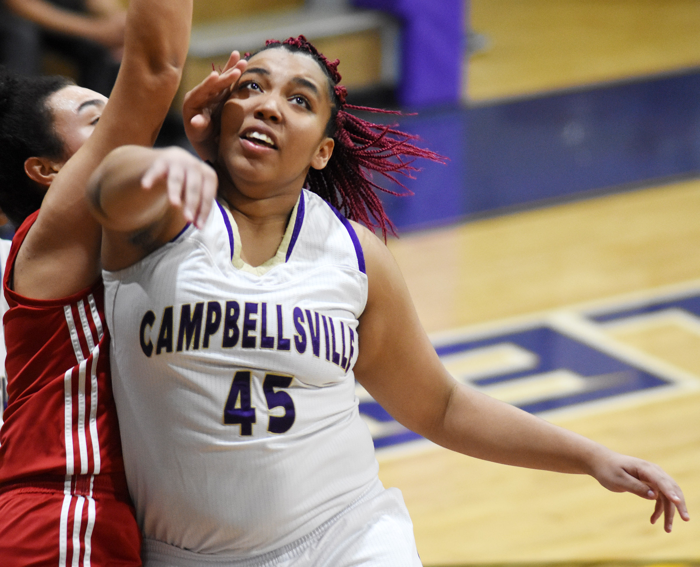 CHS junior Malaya Hoskins is fouled.