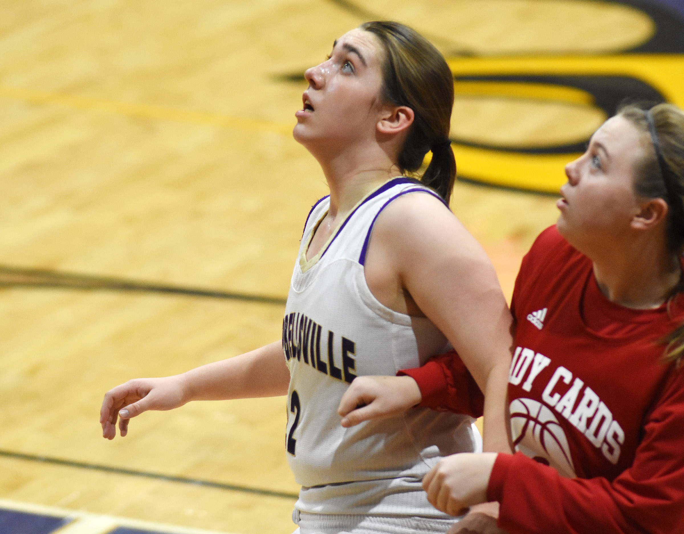 CHS freshman Abi Wiedewitsch looks for a rebound.