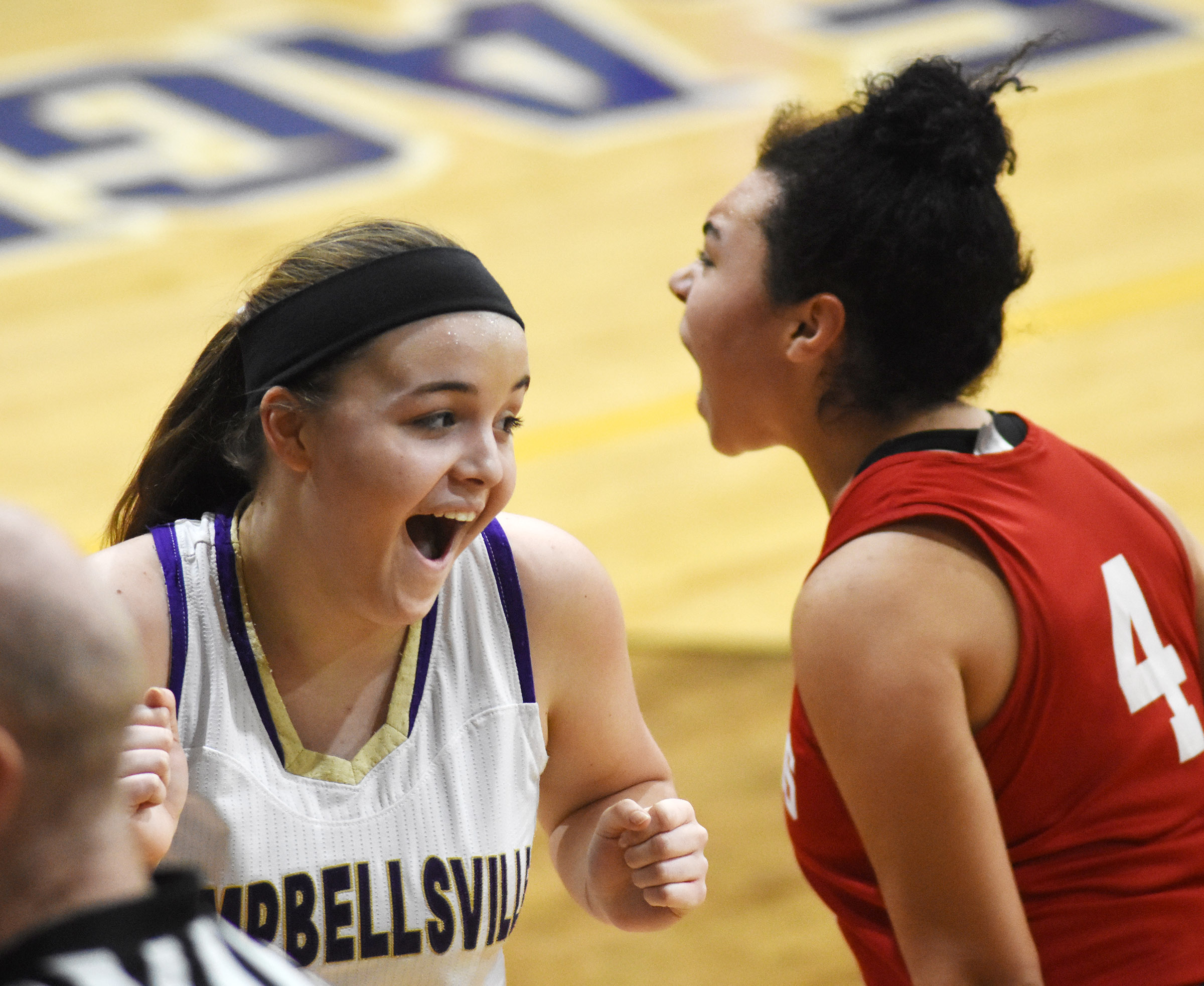 CHS freshman Kenzi Forbis reacts to a call.