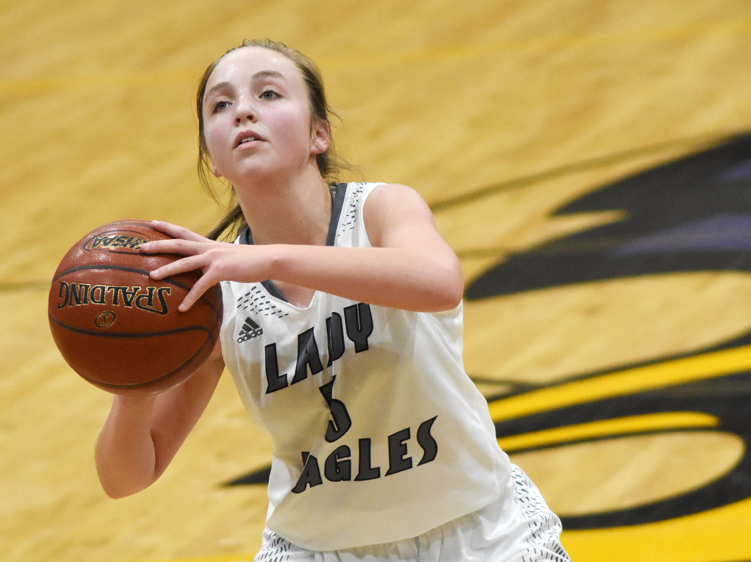 Campbellsville Middle School eighth-grader Lainey Watson shoots.