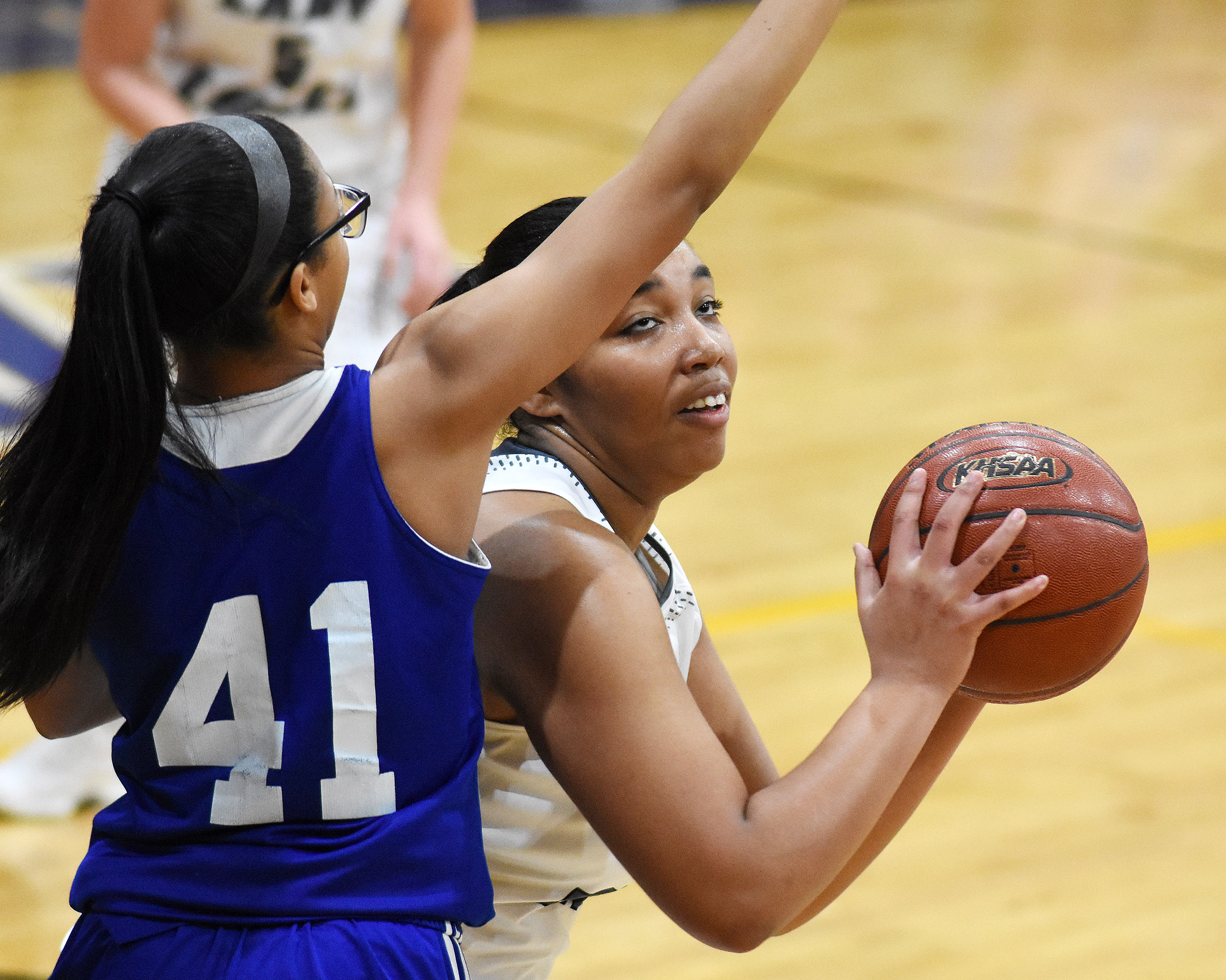 CHS junior Malaya Hoskins looks to score.