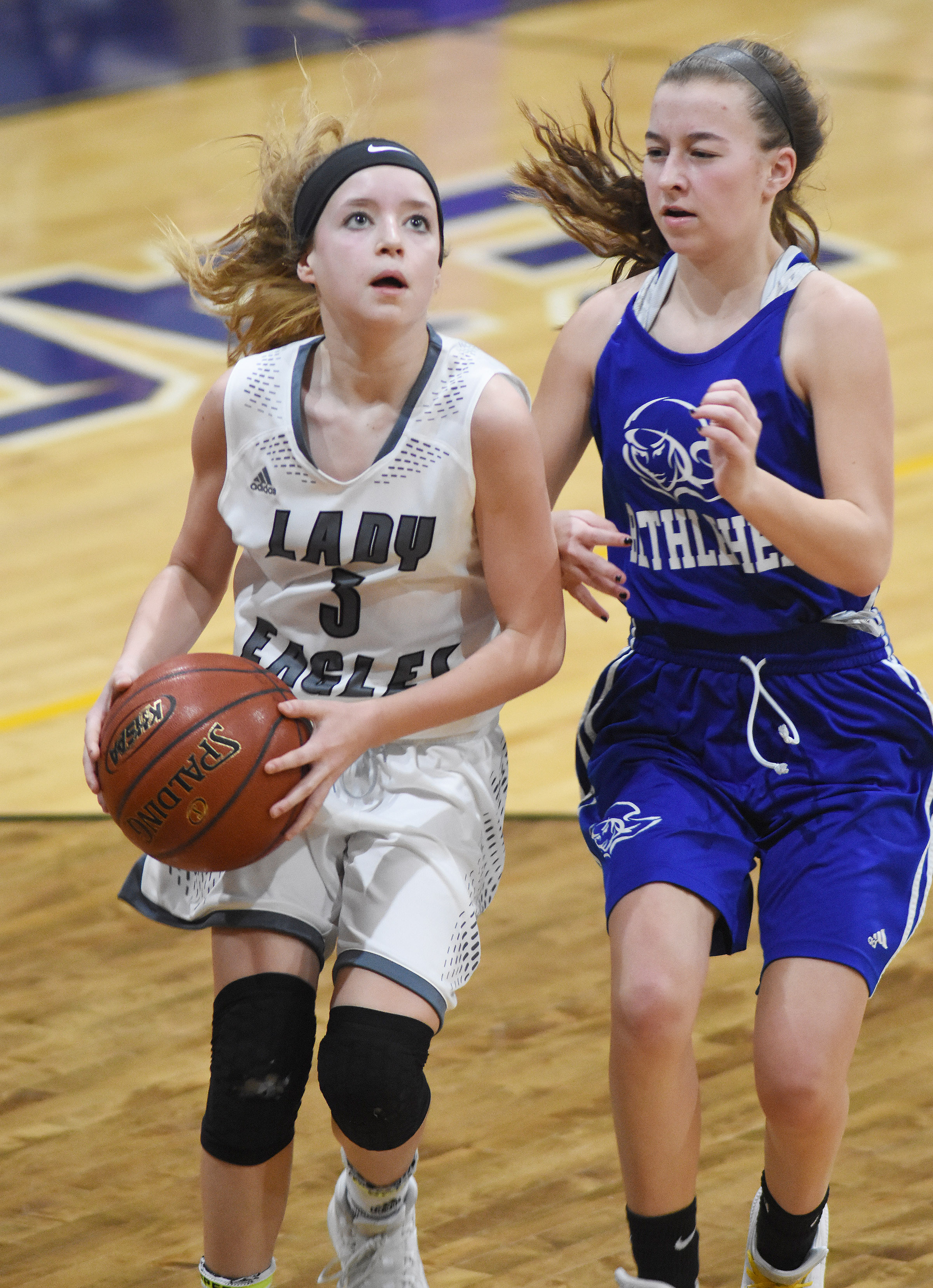 Campbellsville Middle School eighth-grader Rylee Petett drives the ball.