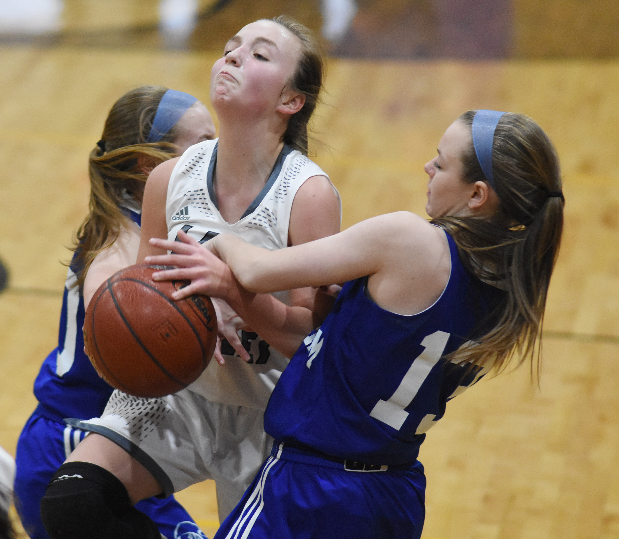 Campbellsville Middle School eighth-grader Lainey Watson protects the ball.