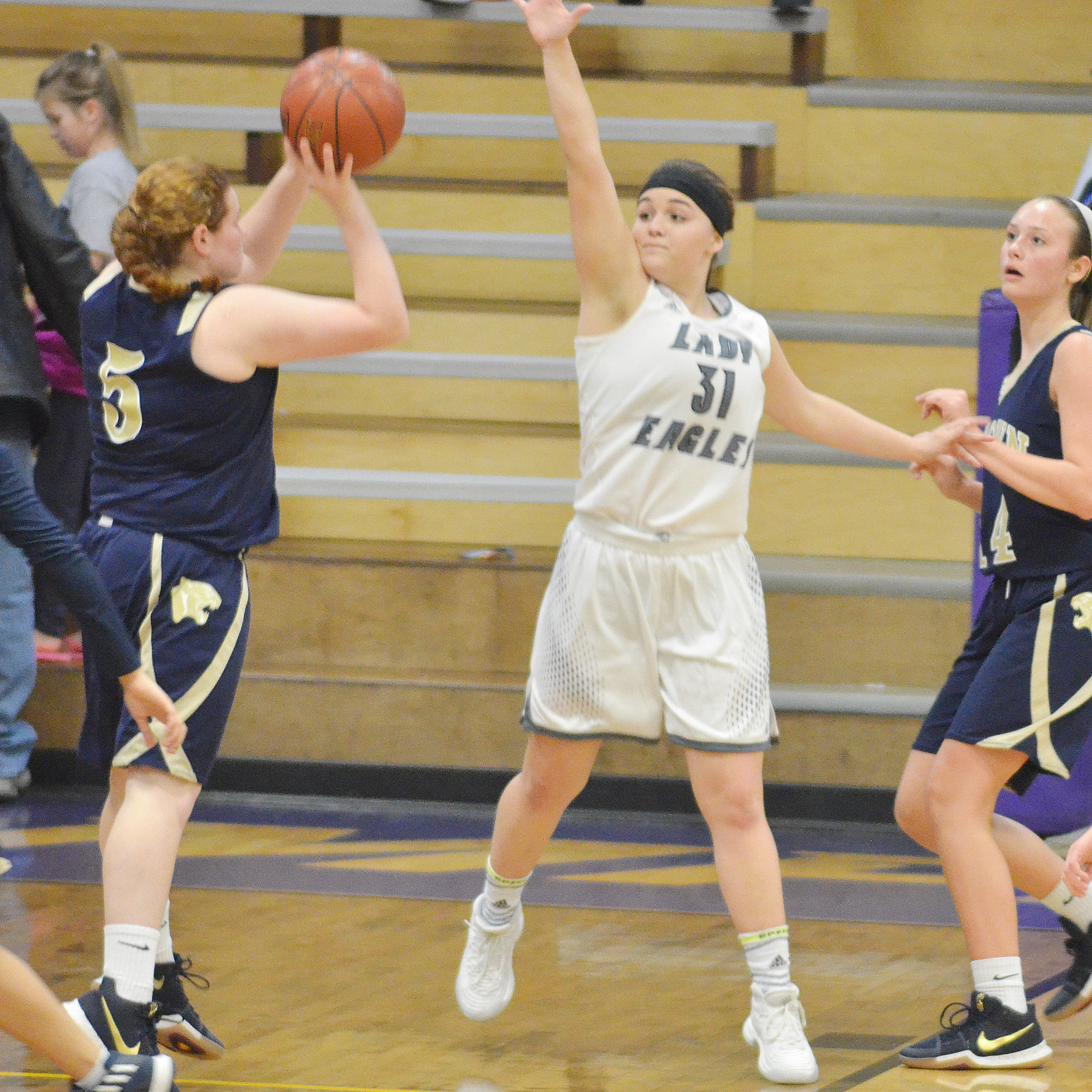 CHS freshman Kenzi Forbis tries to block a shot.