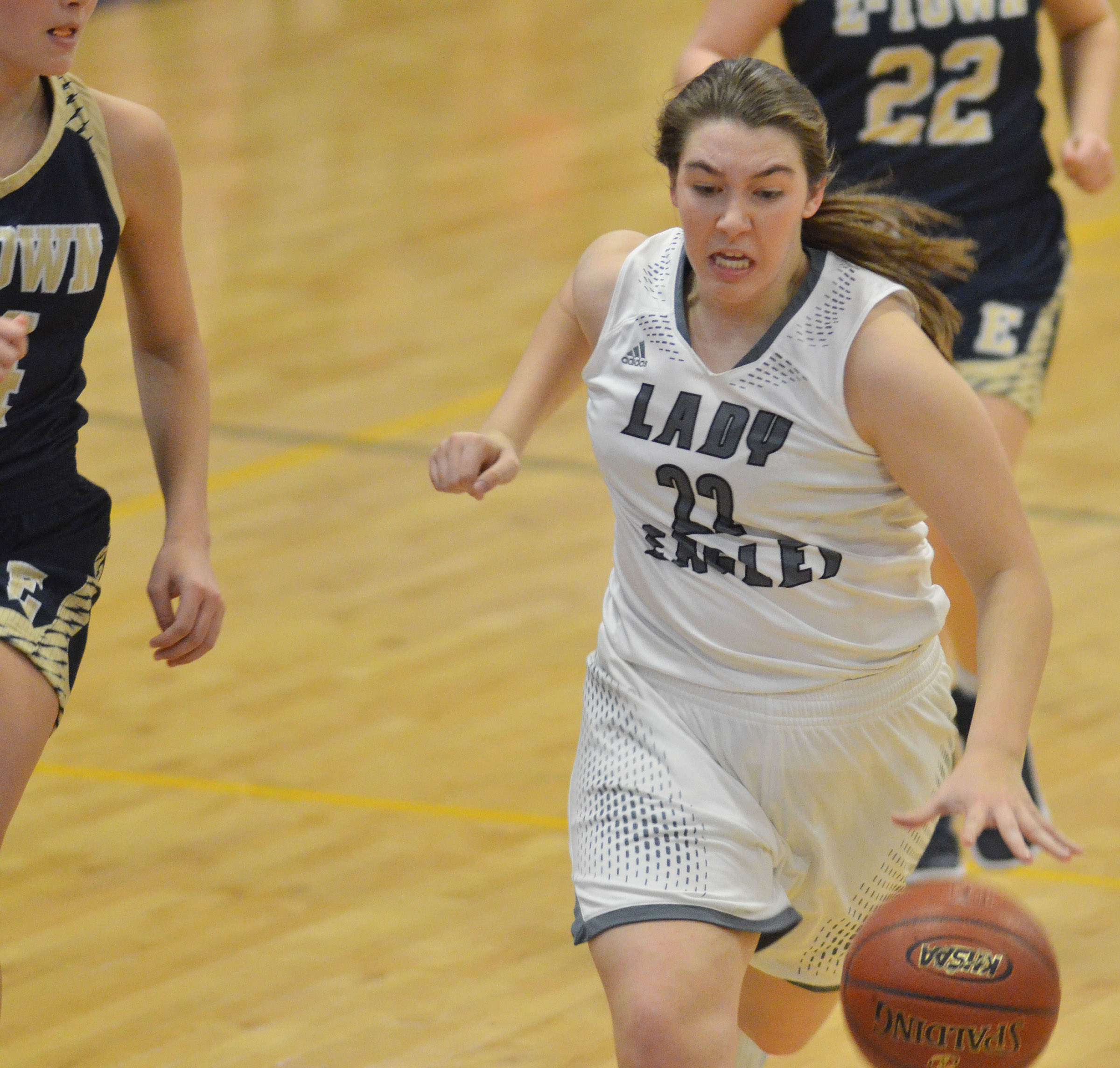 CHS freshman Abi Wiedewitsch runs down the court.