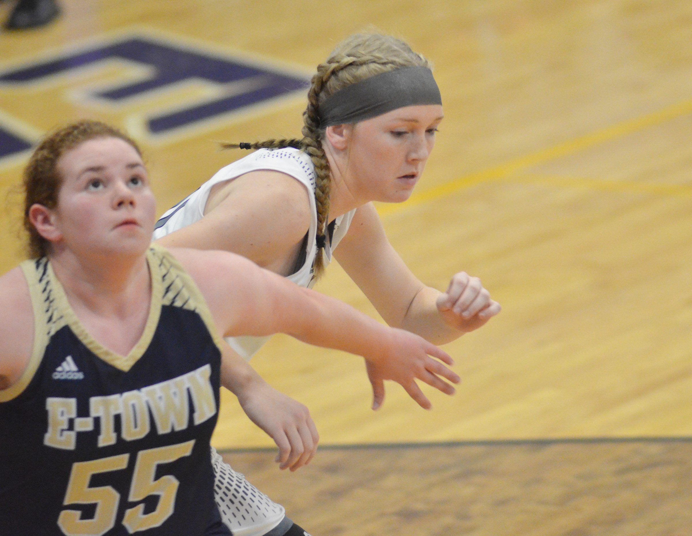 CHS freshman Catlyn Clausen fights for a rebound.