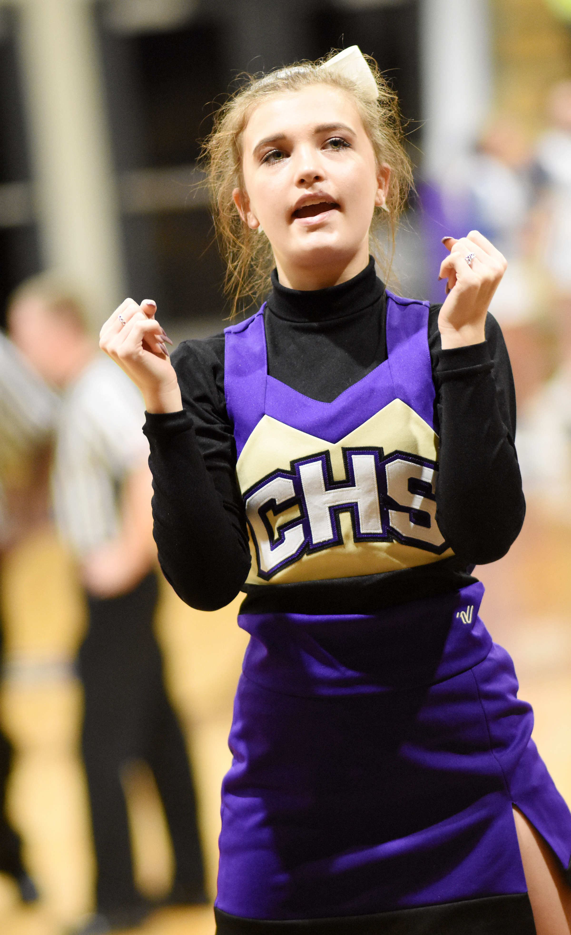 CHS freshman Carly Adams cheers for the Eagles.