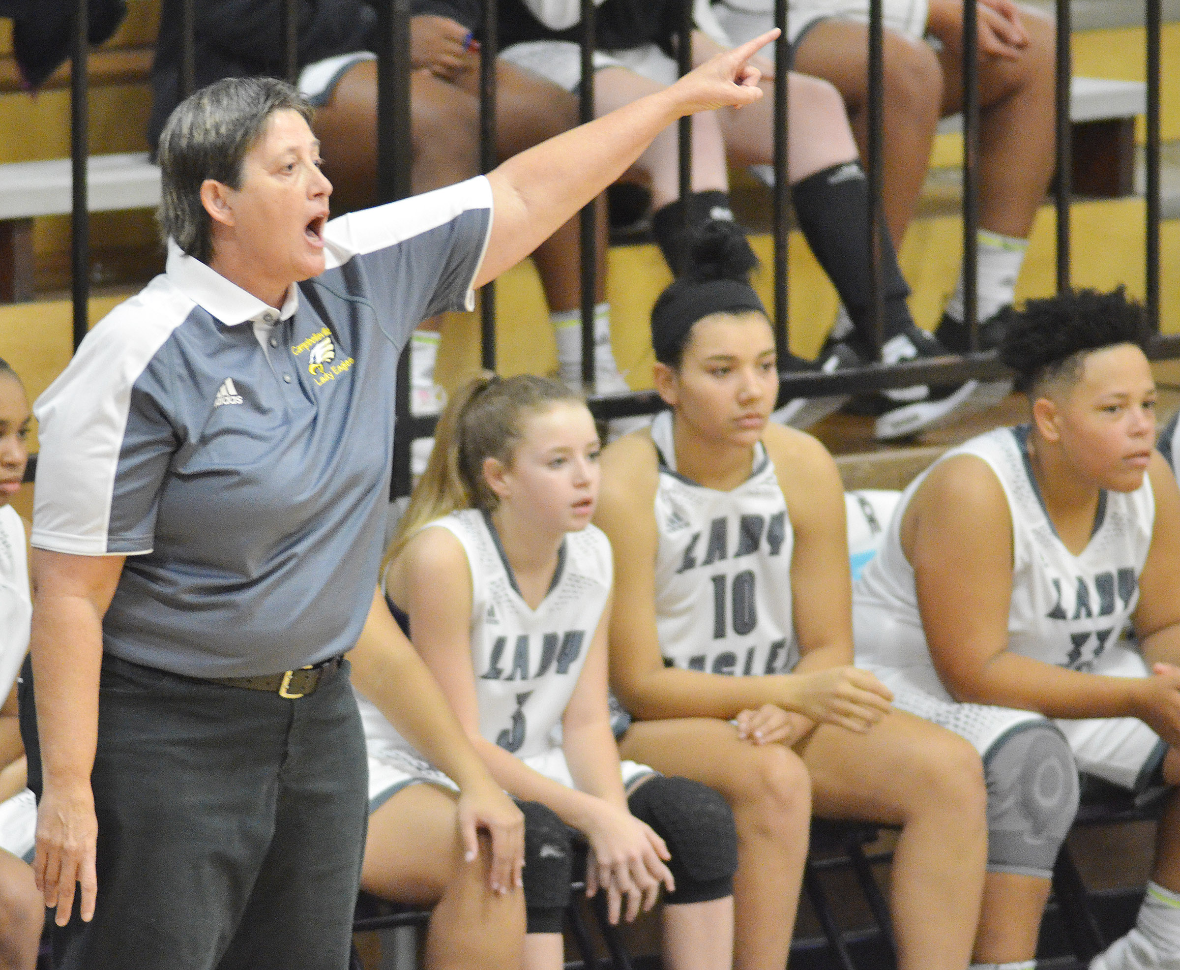 CHS girls' basketball assistant coach Katie Wilkerson yells to her players.