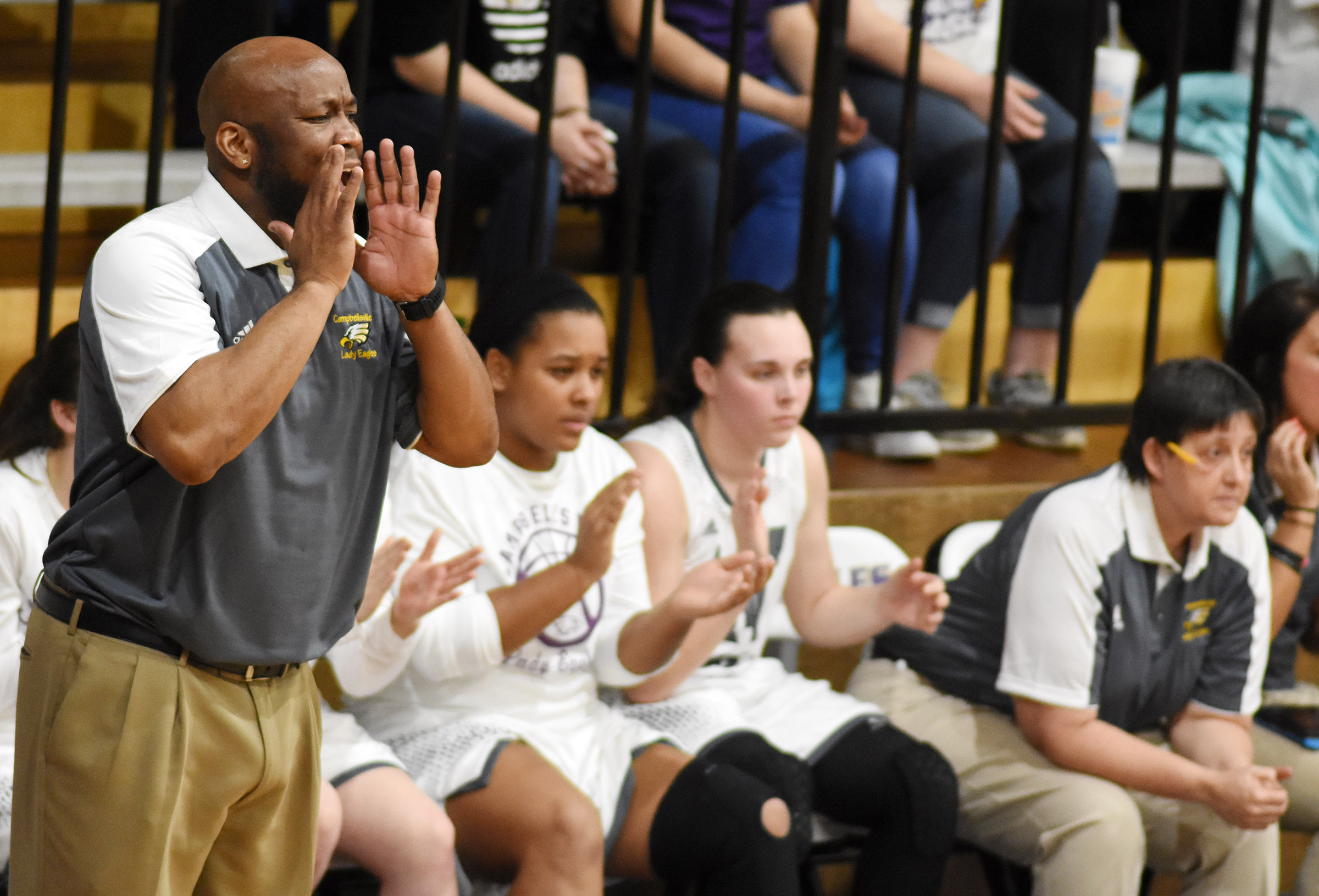 CHS girls' basketball head coach Anthony Epps yells to his players.
