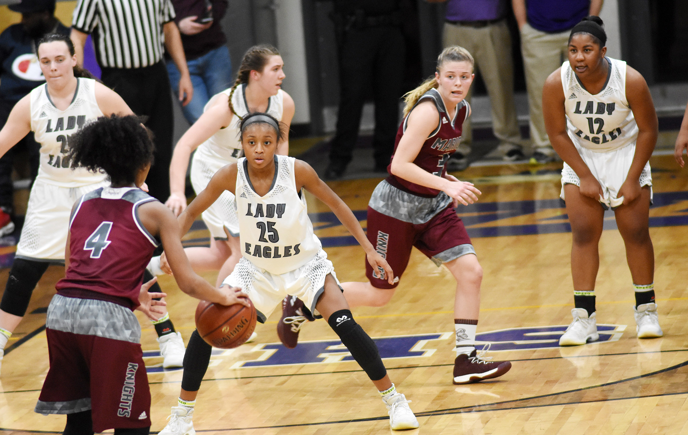 Campbellsville Middle School eighth-grader Bri Gowdy plays defense.