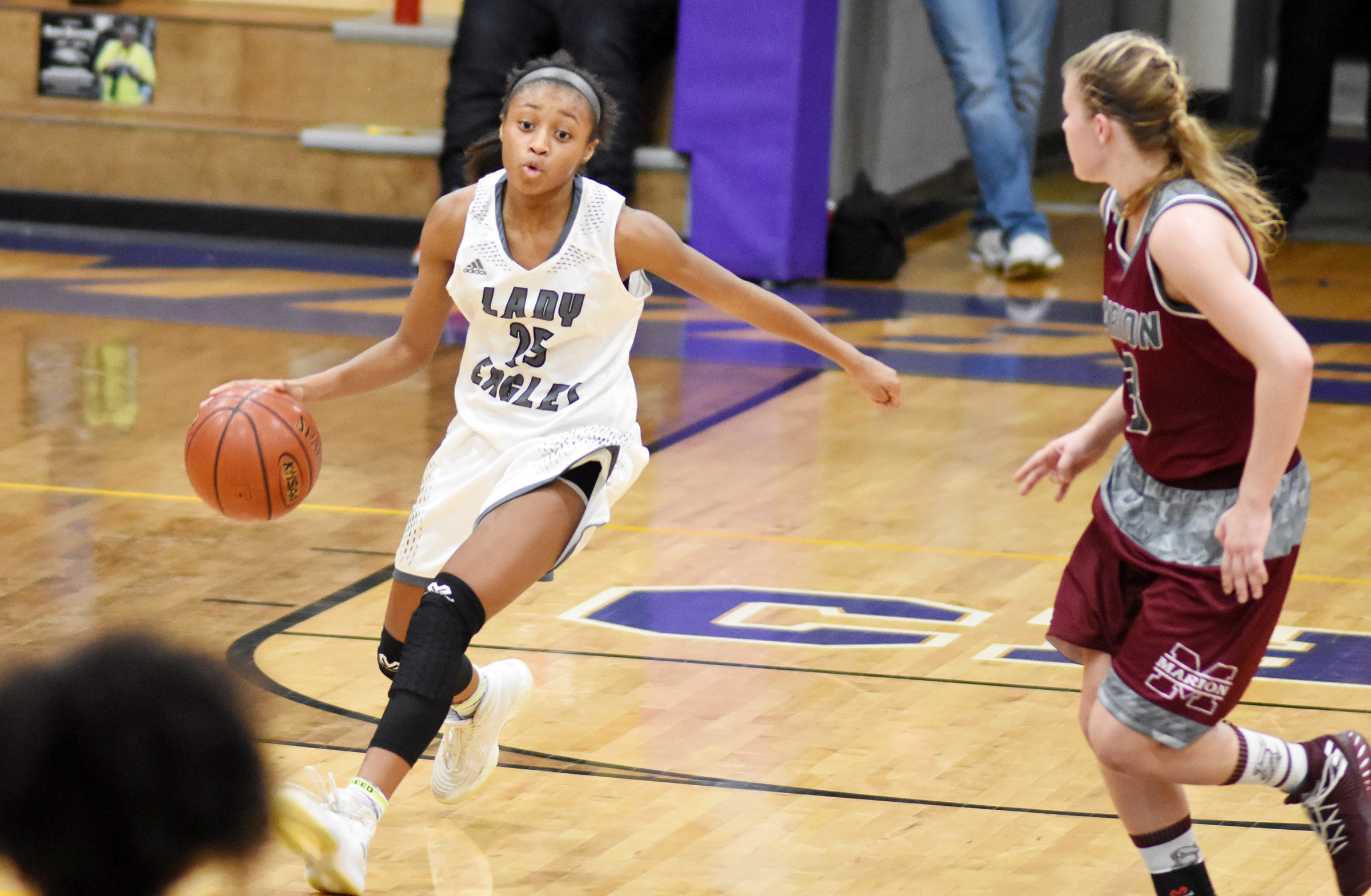 Campbellsville Middle School eighth-grader Bri Gowdy dribbles.