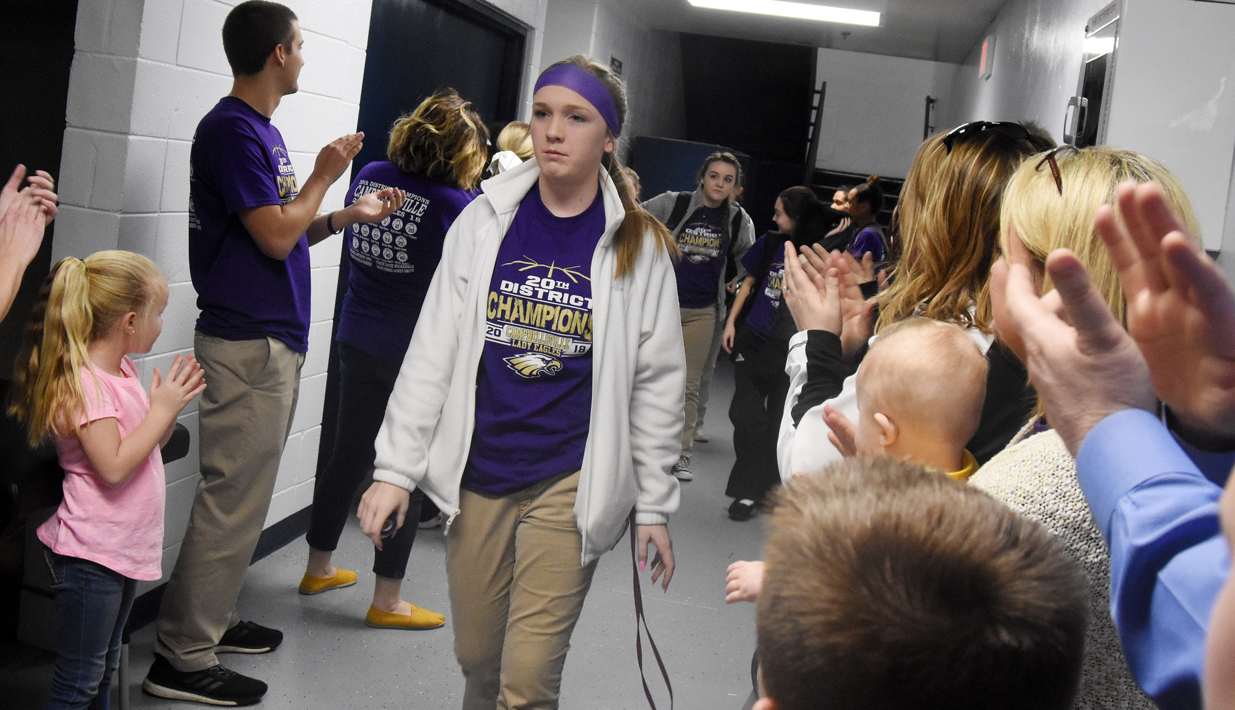 CHS freshman Catlyn Clausen walks out of the locker room.