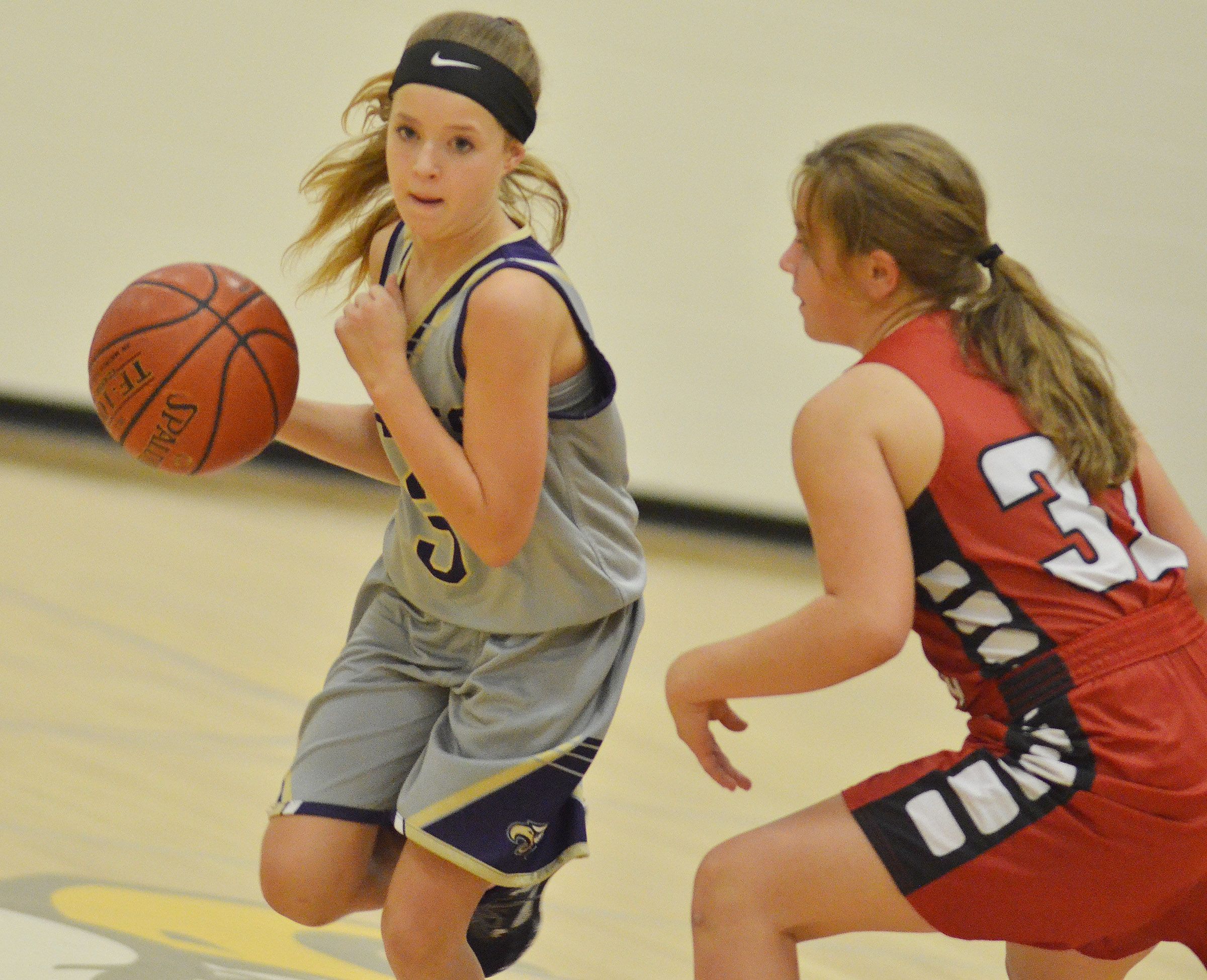 CMS eighth-grader Rylee Petett dribbles to the basket.