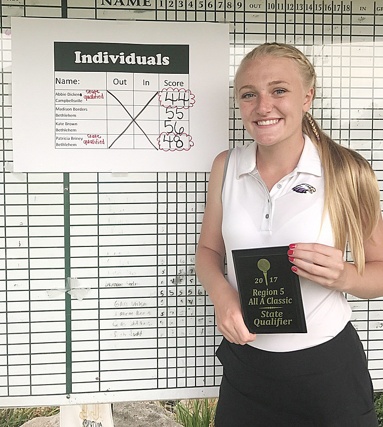 "CHS junior Abbie Dicken has once again qualified to compete in the All ""A"" state golf tournament. She finished in first place out of the four individual competitors."