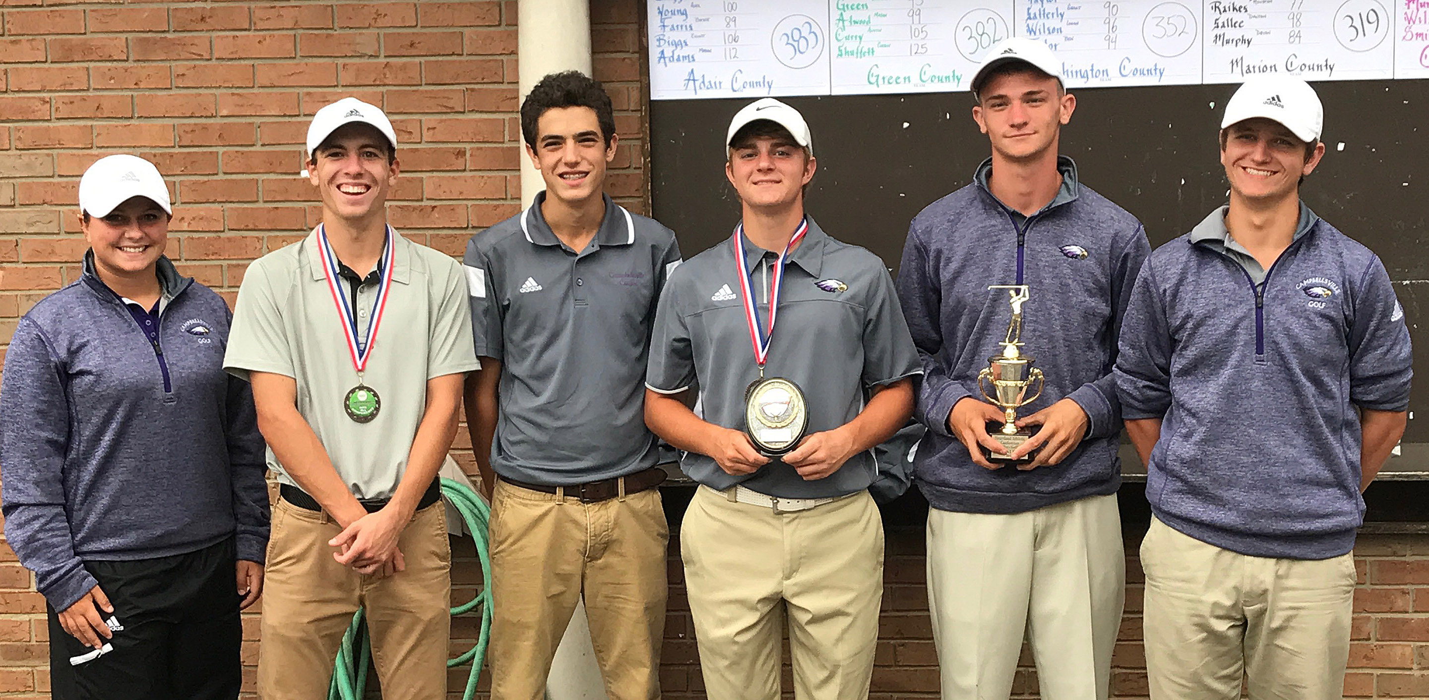 CHS boys' golf team finished this year's Heartland Conference tournament as runners-up. From left are coach Cassidy Decker, junior Layton Hord, freshman Kameron Smith, seniors Alex Doss and Connor Wilson and junior Myles Murrell.