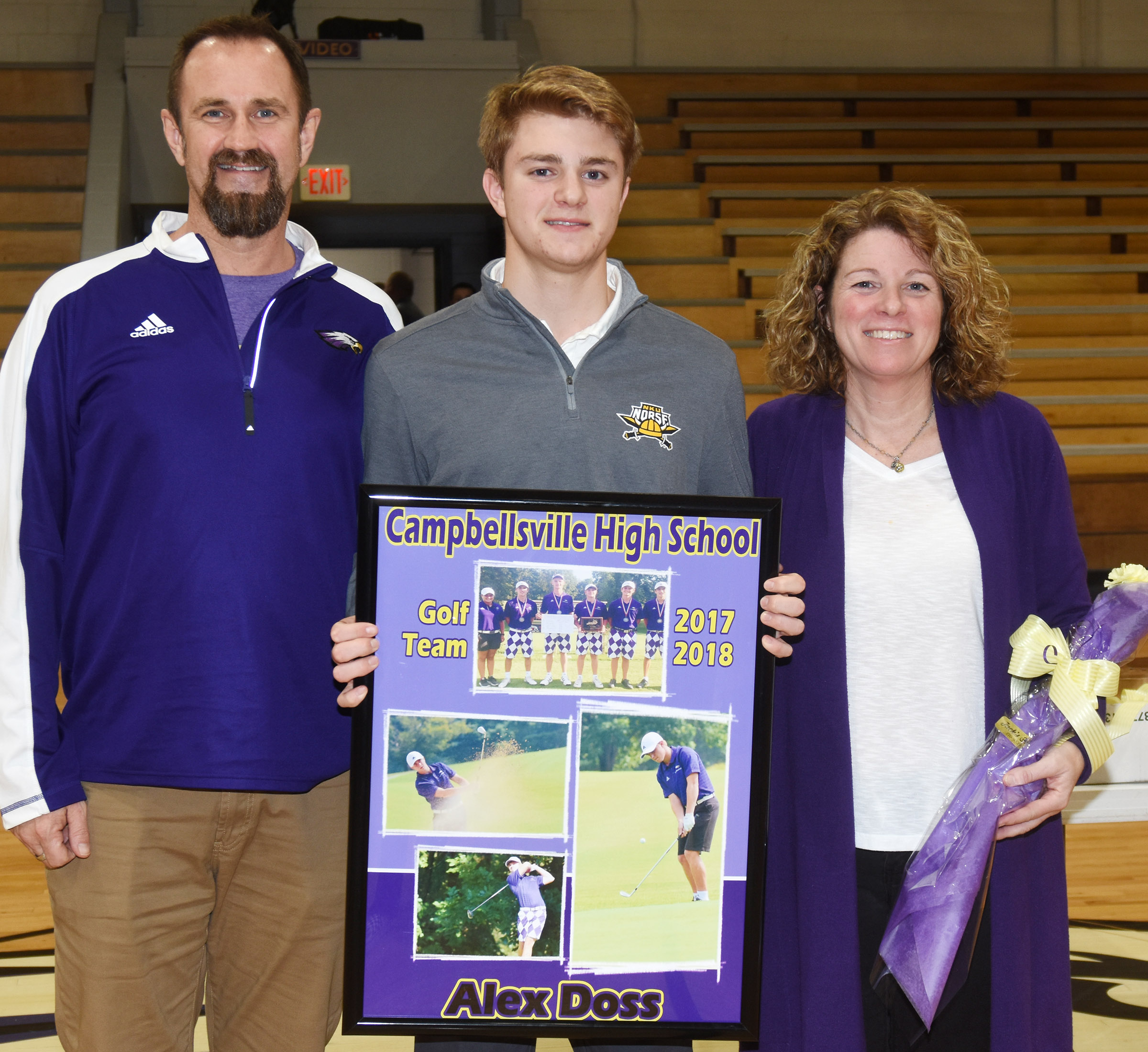 CHS senior golf player Alex Doss is honored. He is pictured with his parents, Steve and Dee Doss.