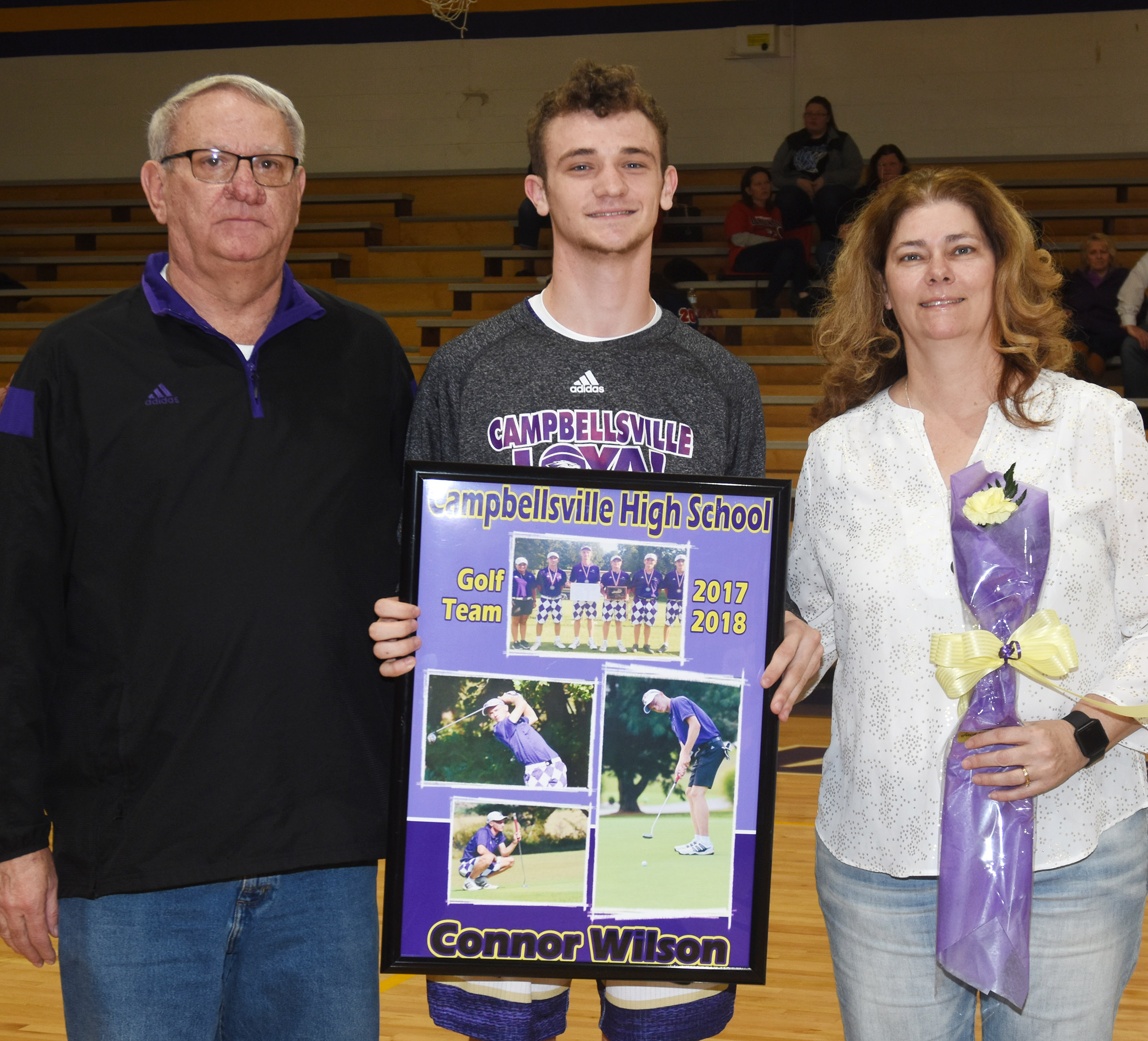 CHS senior golf player Connor Wilson is honored. He is pictured with his parents, Rick and Tammy Wilson.