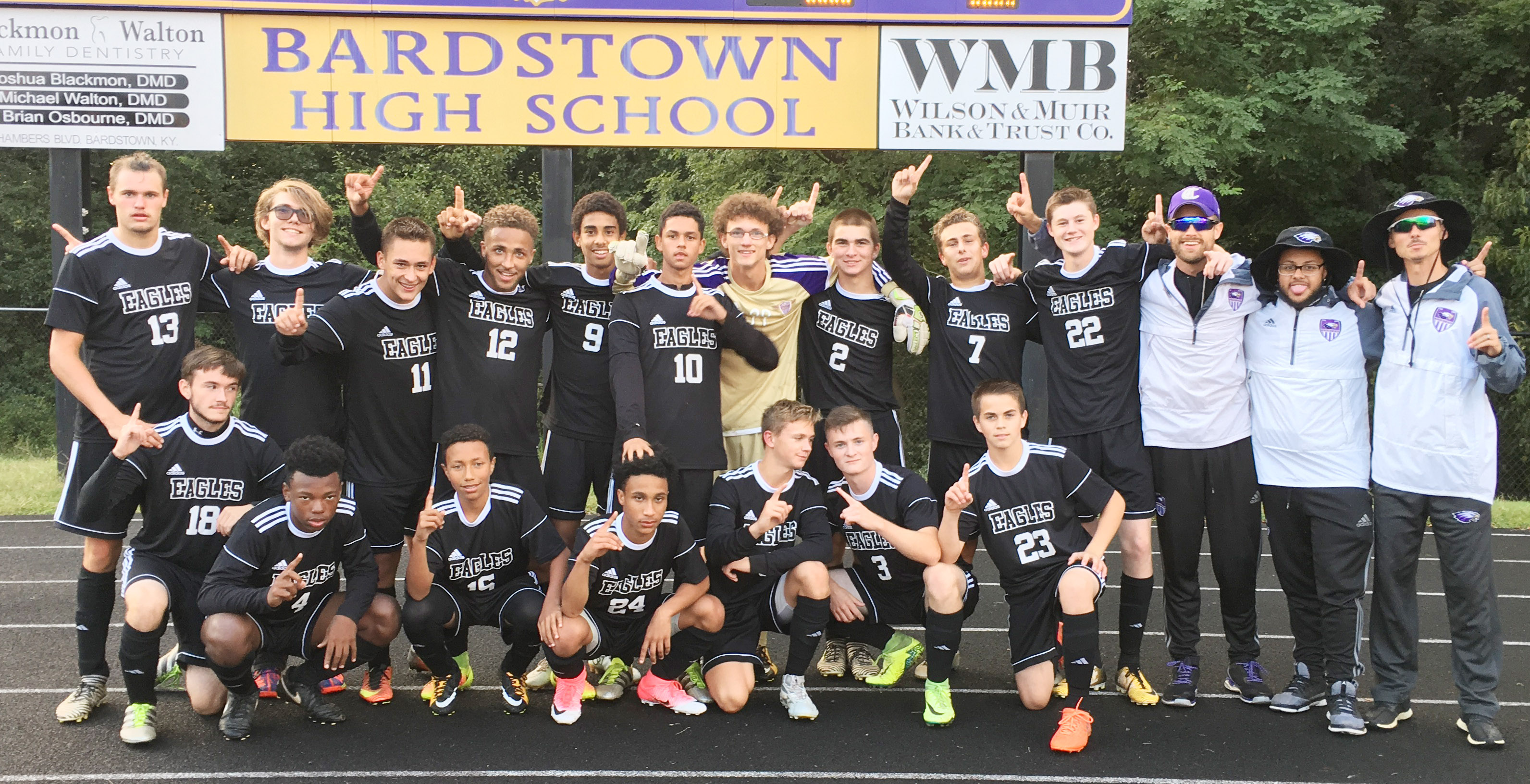 "Campbellsville High School soccer team recently made history by defeating Bardstown to win the All ""A"" fifth region championship. The Eagles are, from left, front, senior Jackson Hunt, freshmen Saevon Buckner and Jastyn Shively, junior Daniel Johnson, freshman Blase Wheatley, senior Bryce Richardson and freshman Clark Kidwell. Back, seniors Logan Cole, Christian Berry, Cody Davis and Ethan Lay, sophomores David Silva, Mikael Vaught and Brennon Wheeler, senior Cass Kidwell, junior Brody Weeks, freshman Tristin Faulkner, assistant coaches Matthew Schmuck and Malique Spaulding and head coach Bradley Harris."