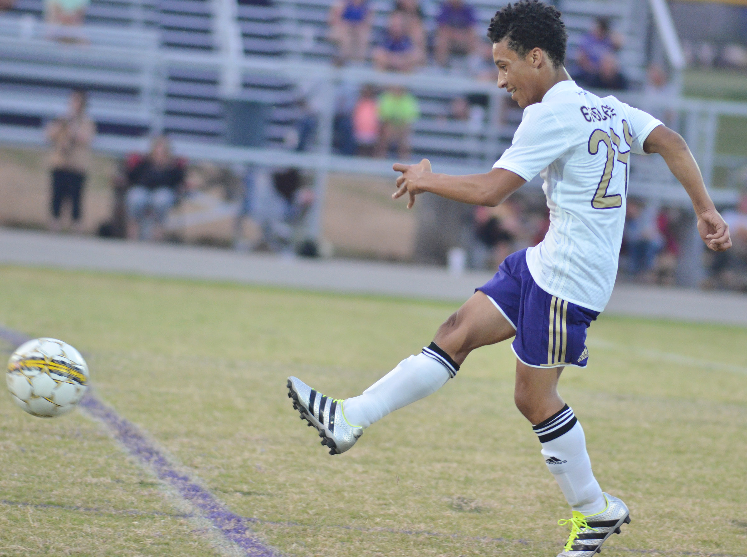 CHS junior Daniel Johnson kicks the ball.