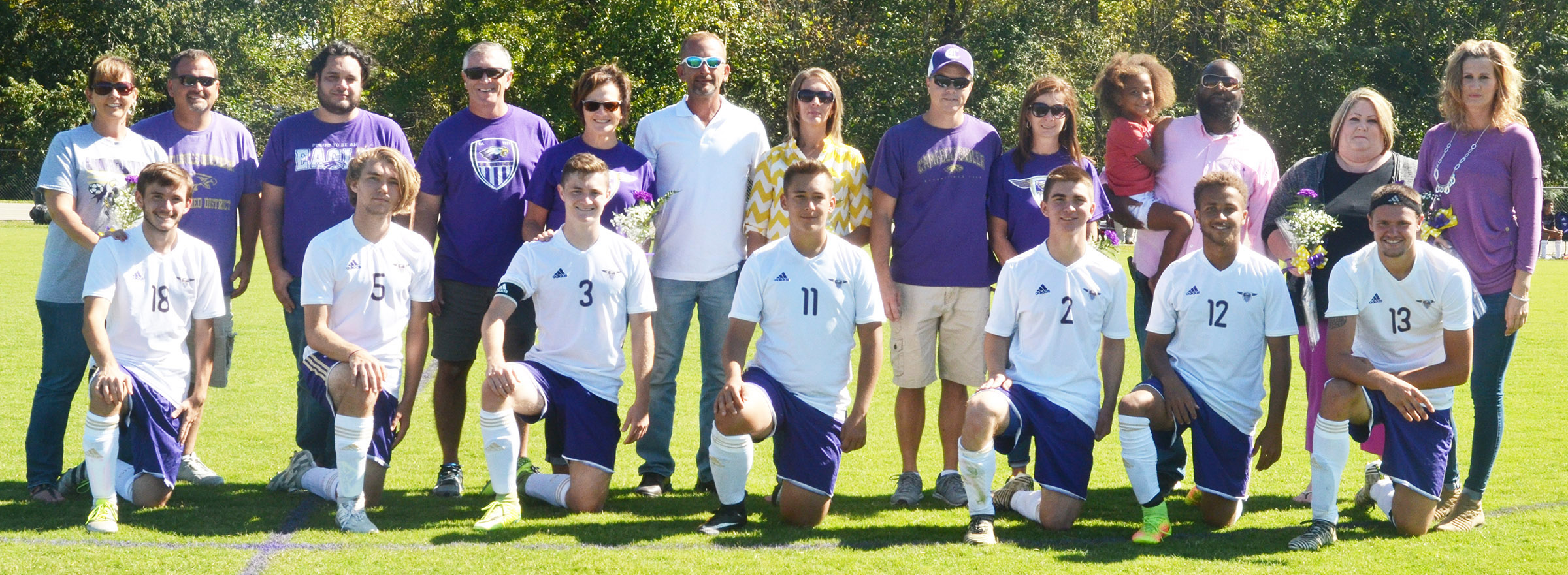 CHS senior soccer players were recently honored. They are pictured with their families. From left are Jackson Hunt, Christian Berry, Bryce Richardson, Cody Davis, Cass Kidwell, Ethan Lay and Logan Cole.