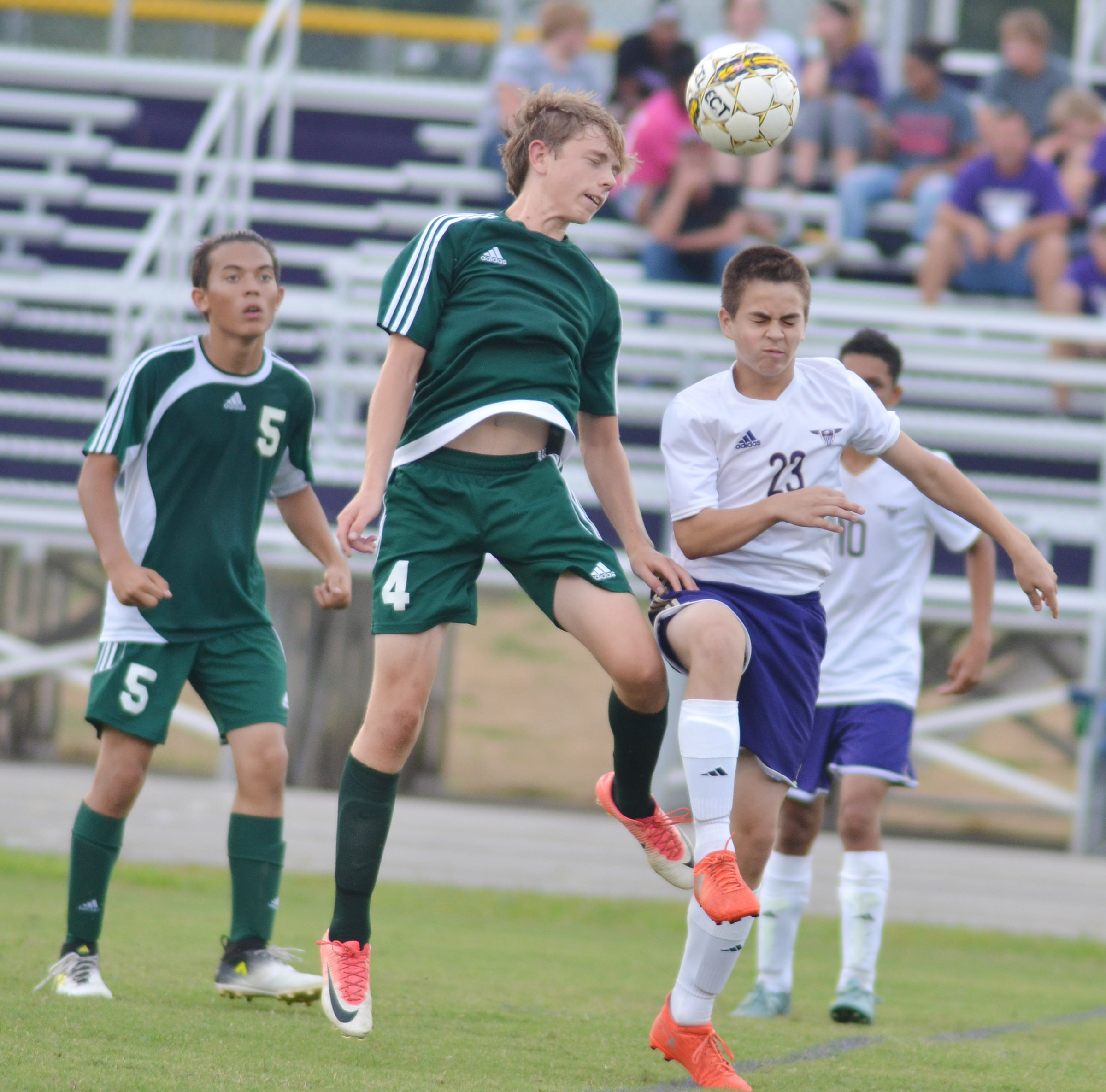 CHS freshman Clark Kidwell winces as the ball comes toward him.