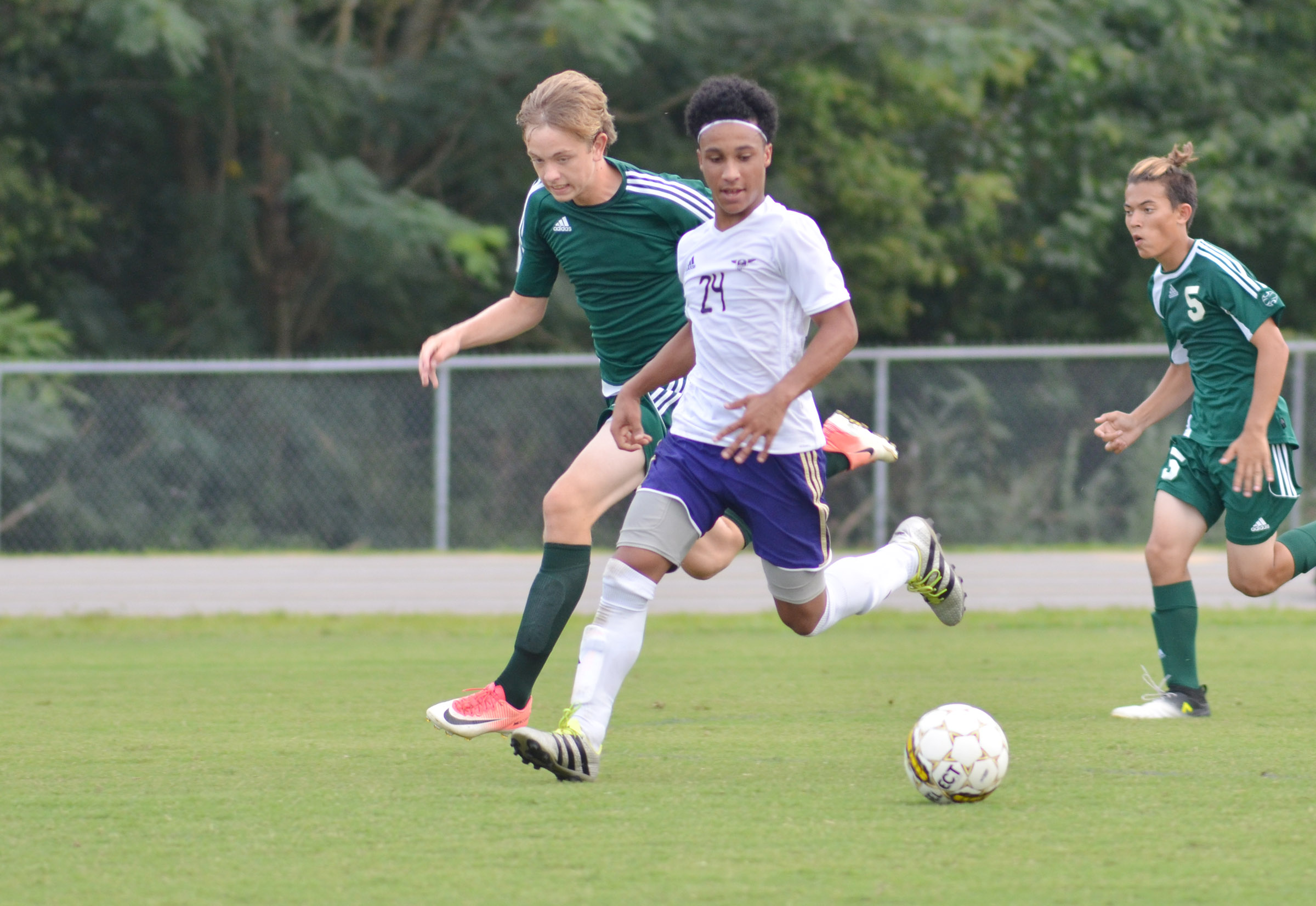 CHS junior Daniel Johnson runs toward the goal.